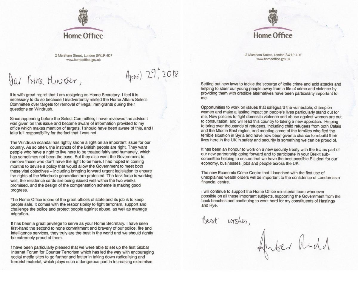 amber rudd s resignation letter in full heraldscotland