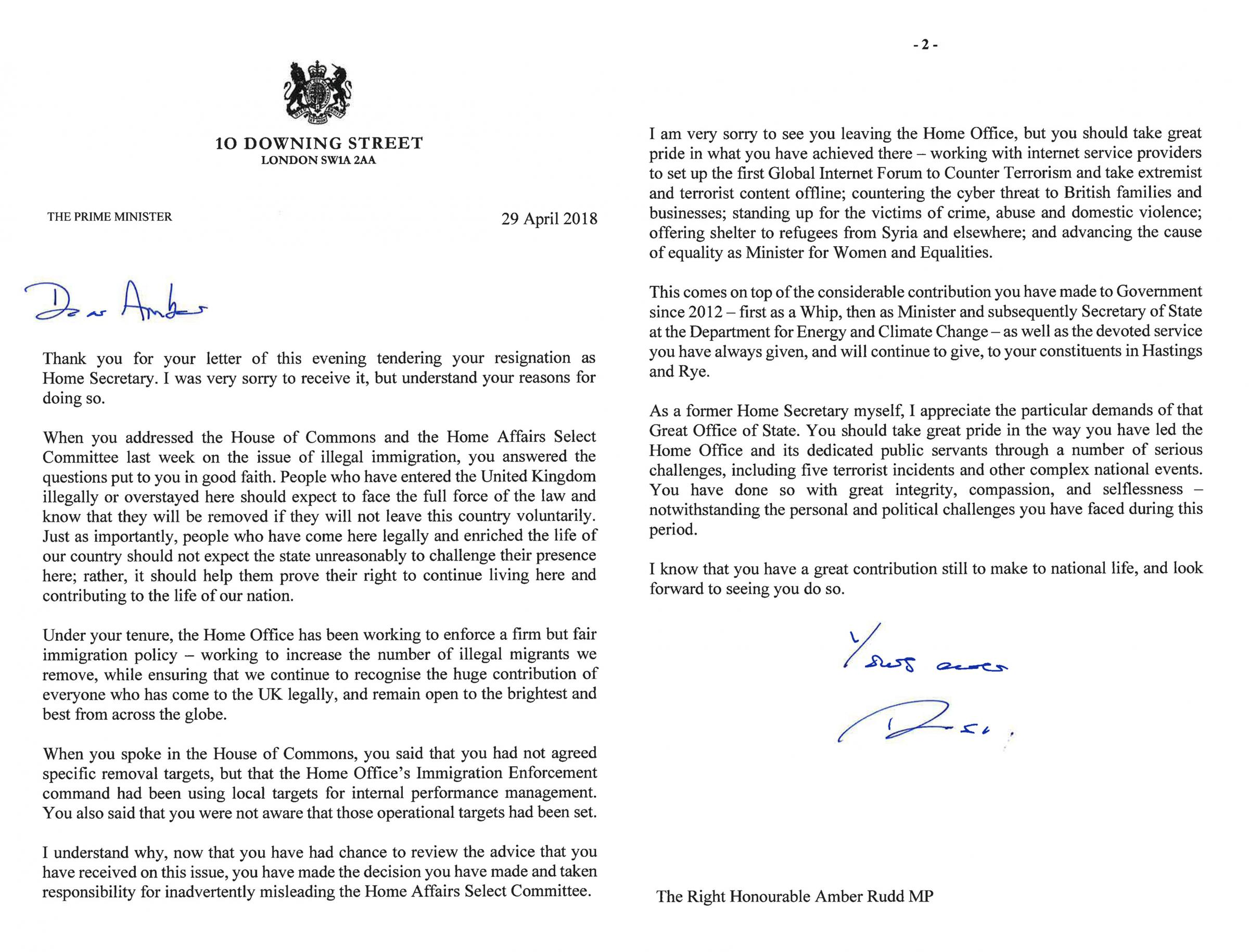 Theresa Mayu0027s Reply To Resignation Letter From Amber Rudd In Full