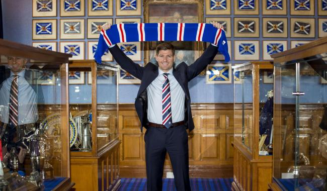 04/05/18. IBROX - GLASGOW. Steven Gerrard is unveiled as the new Rangers manager.