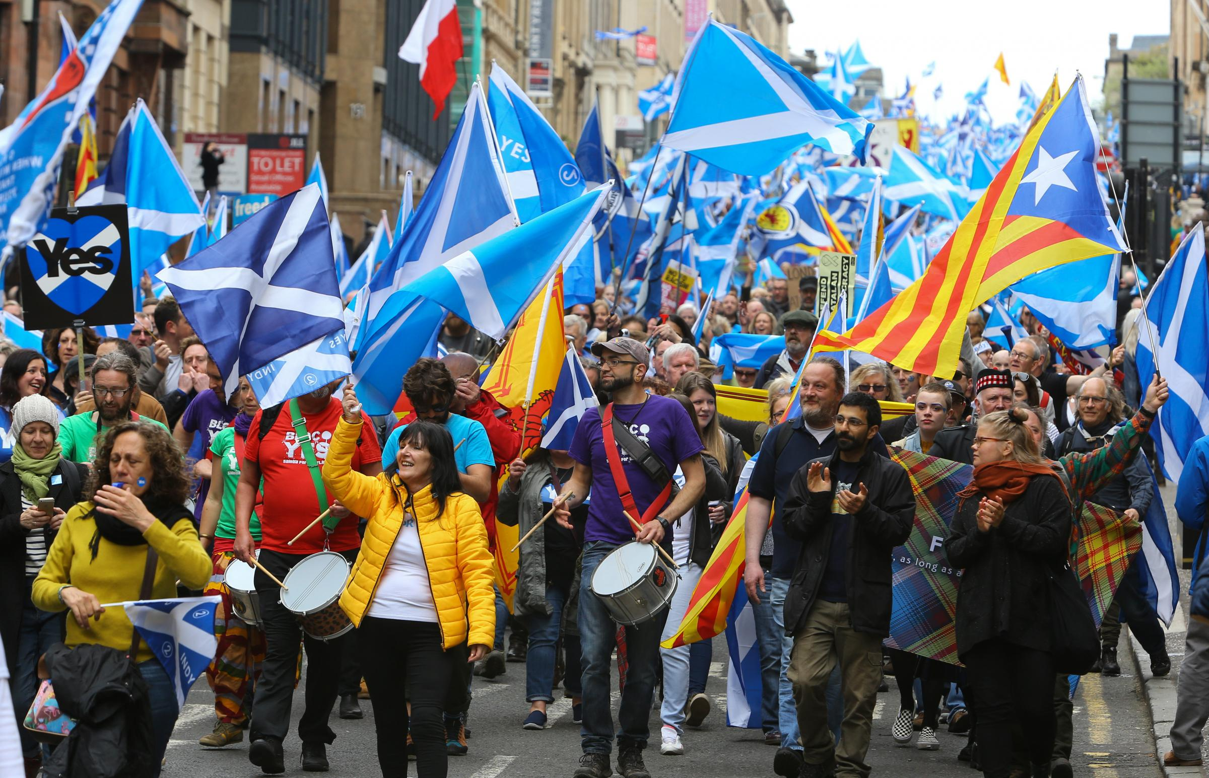 Marchers for independence, Glasgow, May 2018