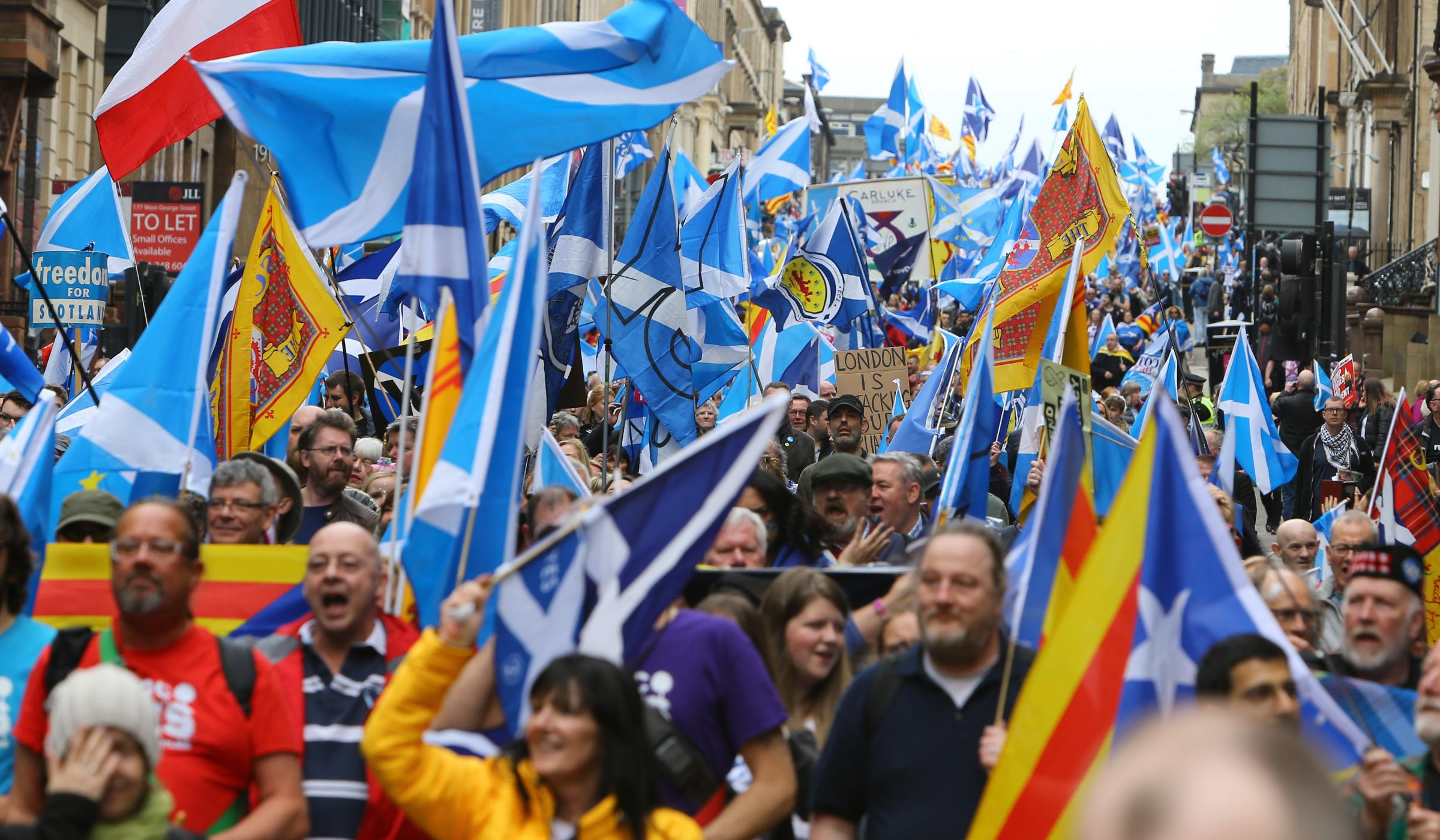 All Under One Banner march for independence from kelvingrove Park to Glasgow Green. The march on West George street...   Photograph by Colin Mearns.5 May 2018..