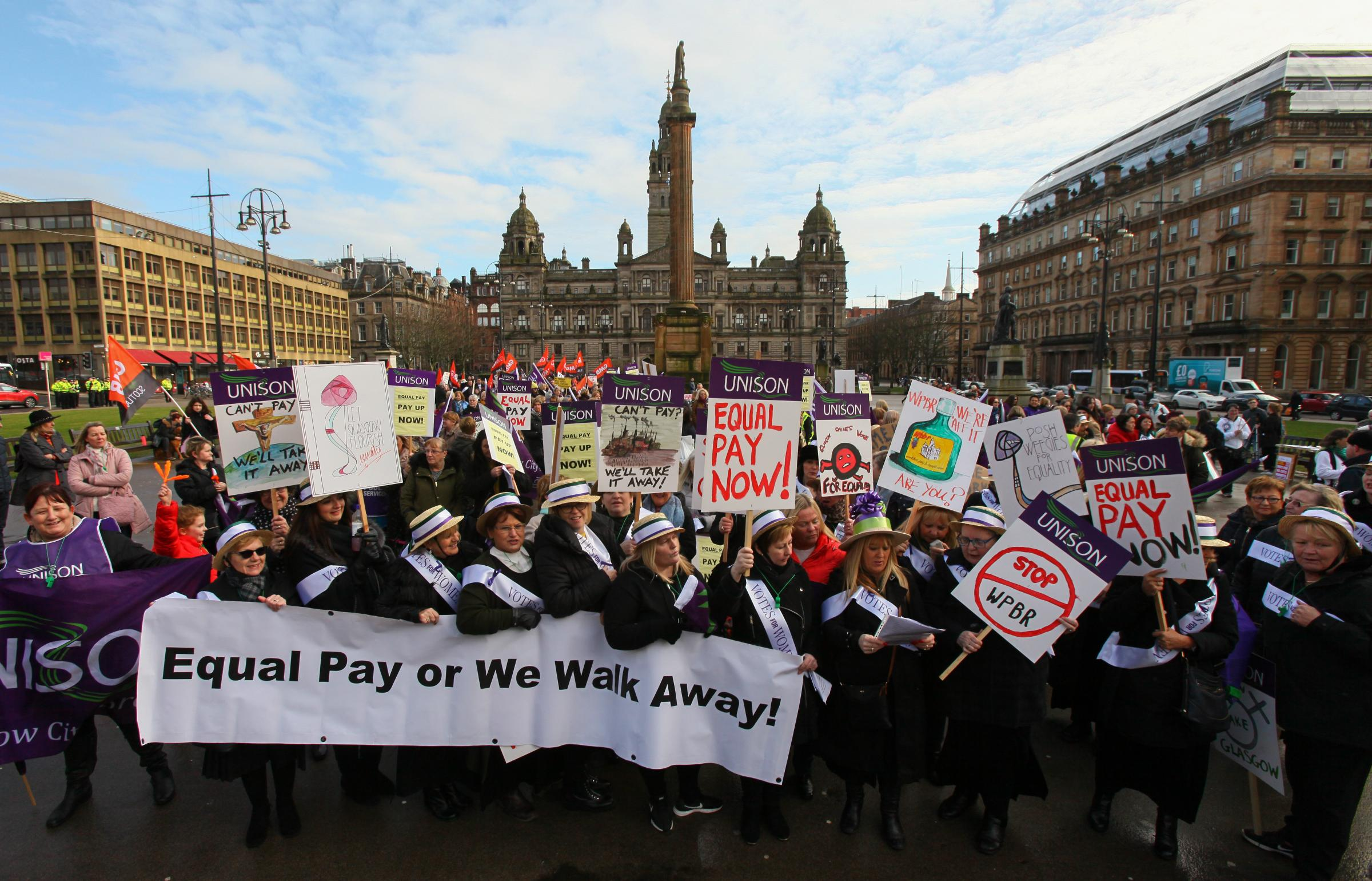 Women march to George Square in their demand for equal pay from Glasgow City Council. Picture: Colin Mearns.