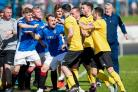 Cowdenbeath and Cove Rangers players exchange unpleasantries last weekend