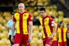 17/05/18 LADBROKES PREMIERSHIP PLAY OFF FINAL 1ST LEG. LIVINGSTON V PARTICK THISTLE. THE TONY MACARONI ARENA - LIVINGSTON. Partick's Conor Sammon and Kris Doolan look dejected.