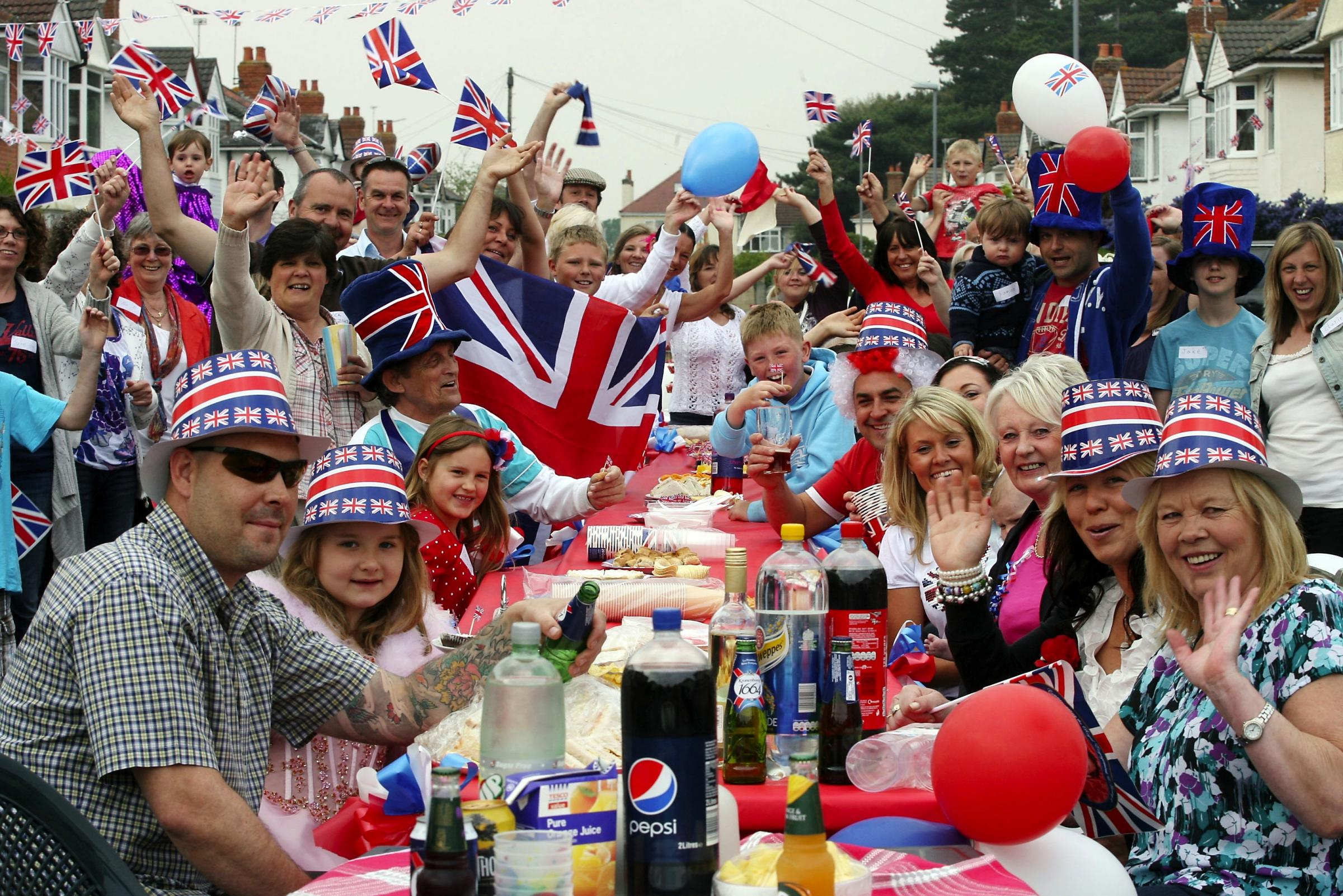 Residents of Elizabeth Avenue in Christchurch celebrate the Royal Wedding with a street party..
