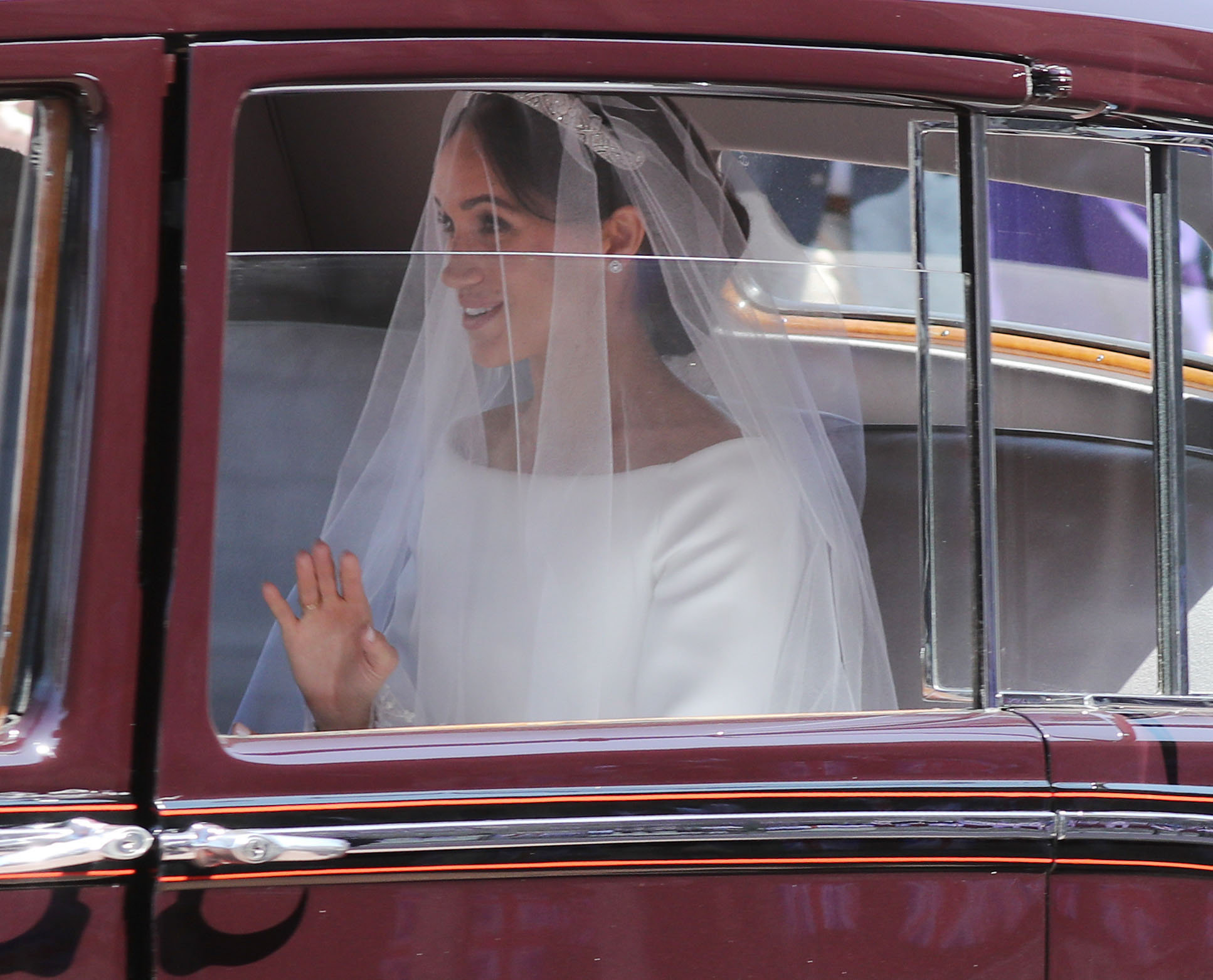 Meghan Markle arrives at St George's Chapel in Windsor Castle for her royal wedding ceremony to Prince Harry