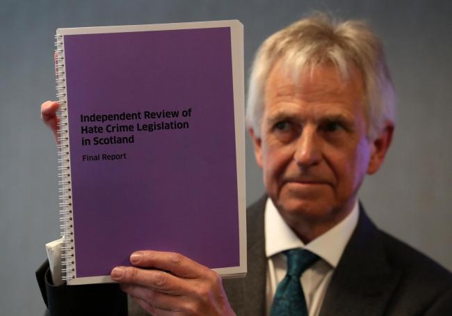 Lord Bracadale holds a copy of his report during the publication of his Independent Review of Hate Crime Legislation report in Edinburgh  (Photo: Andrew Milligan/PA Wire)
