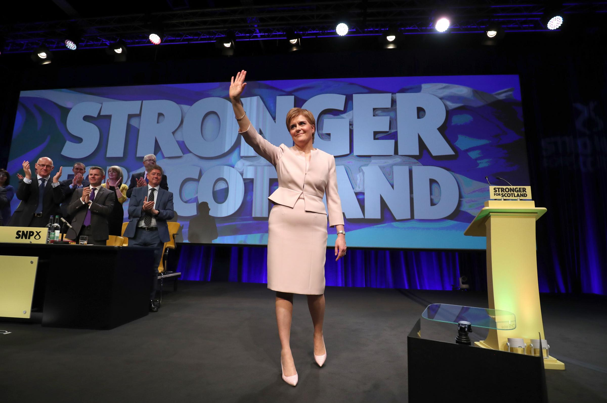 First Minister Nicola Sturgeon after giving her keynote speech to delegates at the Scottish National Party's spring conference at the Aberdeen Exhibition and Conference Centre (AECC), Aberdeen. Picture: Jane Barlow/PA Wire