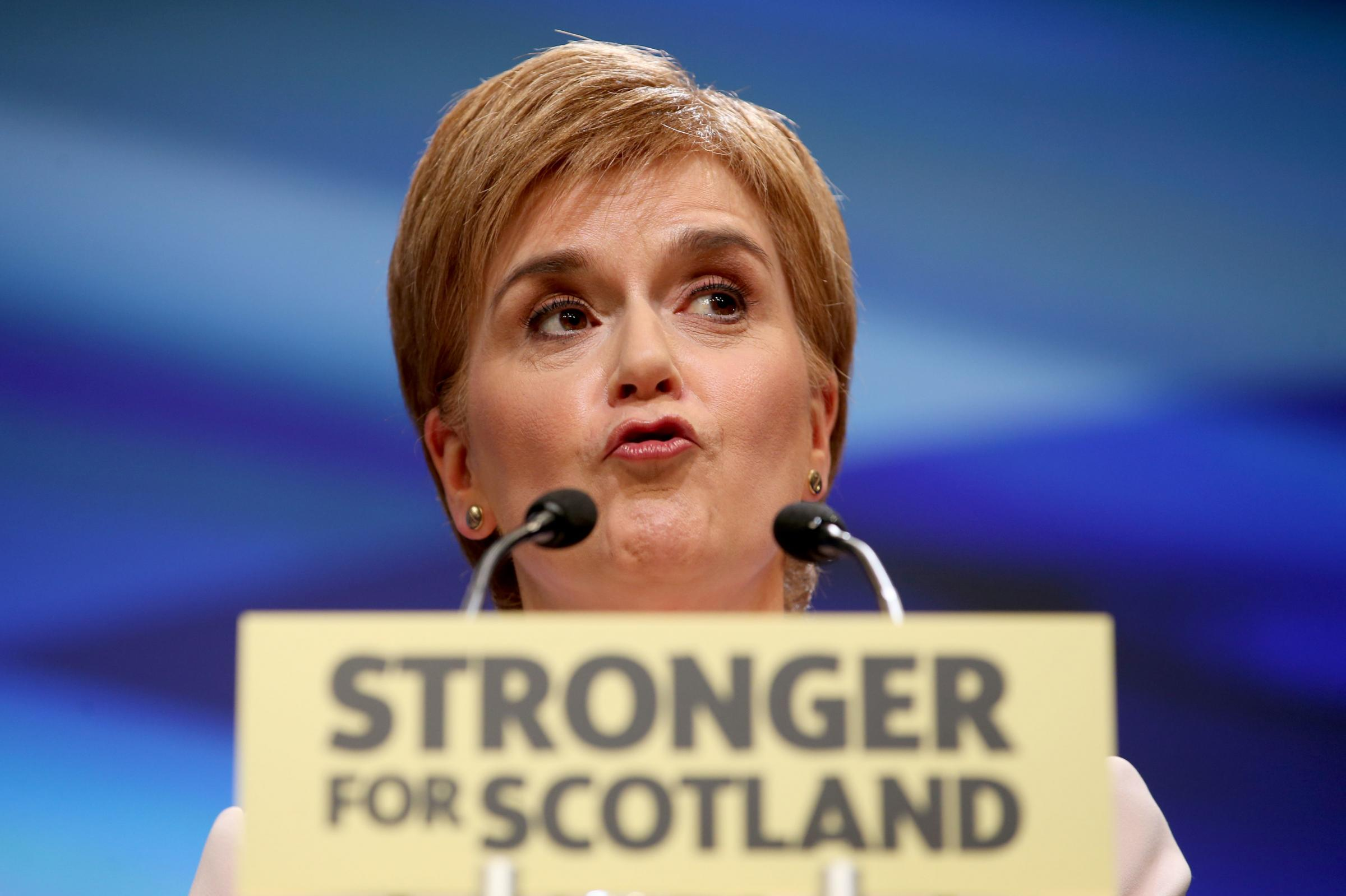 First Minister Nicola Sturgeon delivers her keynote speech to delegates at the SNP's spring conference at the Aberdeen Exhibition and Conference Centre (AECC), Aberdeen on Saturday.