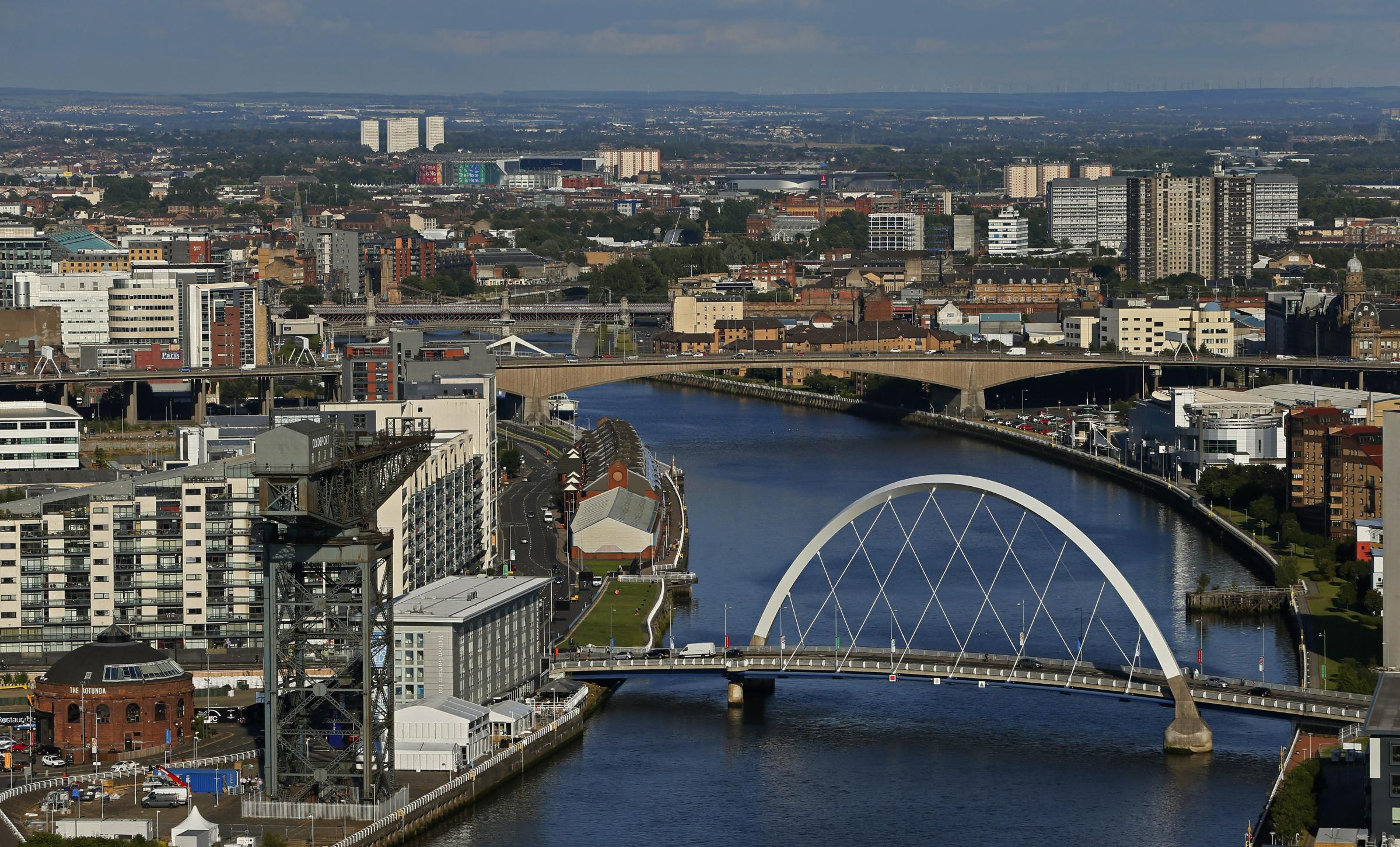 GV of the River Clyde and Glasgow from the Glasgow Tower at Glasgow Science Centre. . .   Photograph by Colin Mearns.17 July 2014.