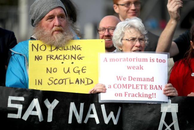 Anti-fracking groups from around Scotland gather to demonstrate outside the Scottish Parliament in Edinburgh. Photograph: Jane Barlow/PA Wire.