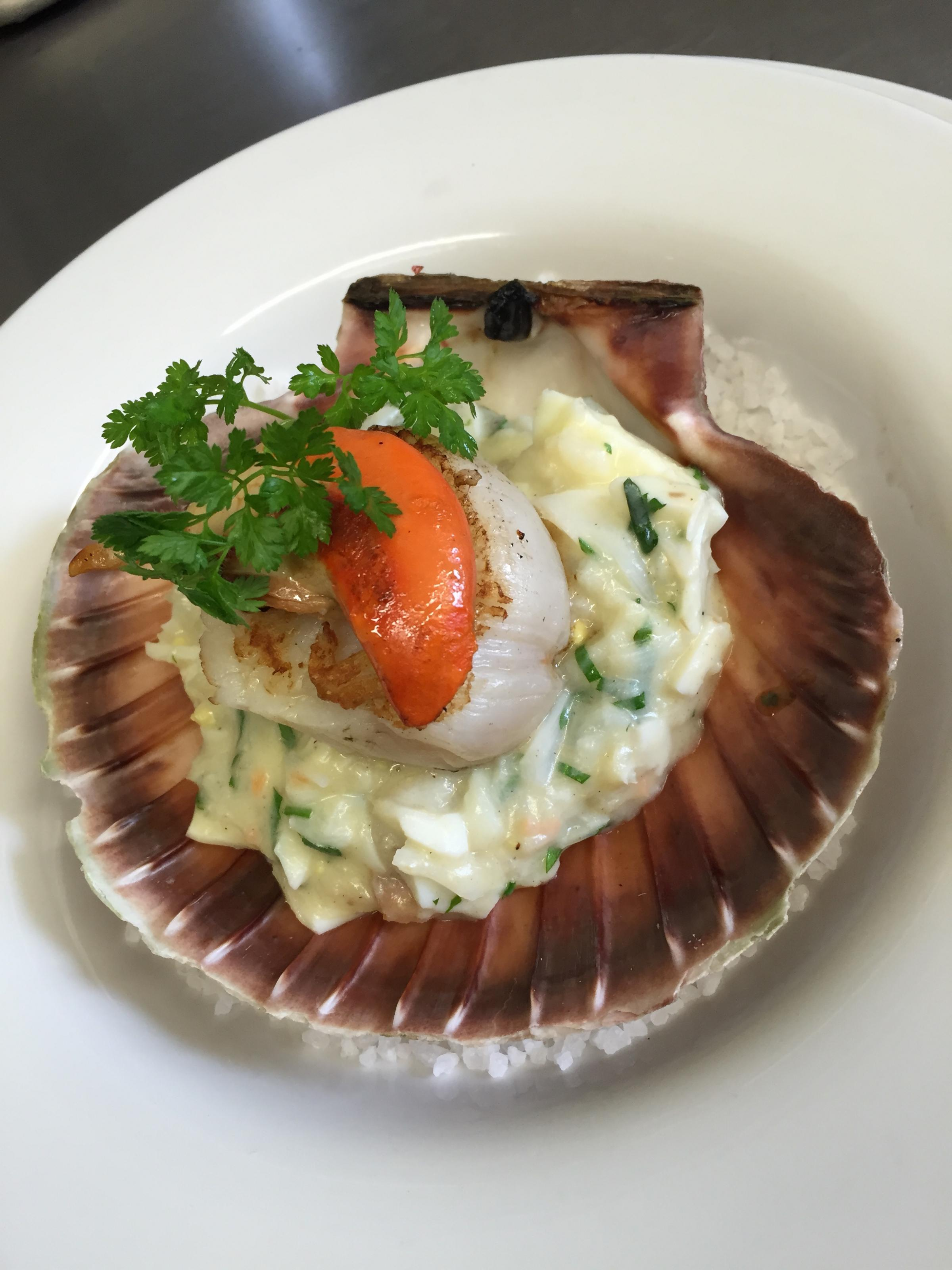 Recipe of the day: Scallop and Salted Cod Sauce Ecossaise, by Frederick Berkmiller of L'Escargot Bleu and Blanc