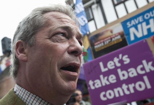 HeraldScotland: Ukip leader Nigel Farage during his party's referendum Brexit Battle Bus tour in Kingston, London