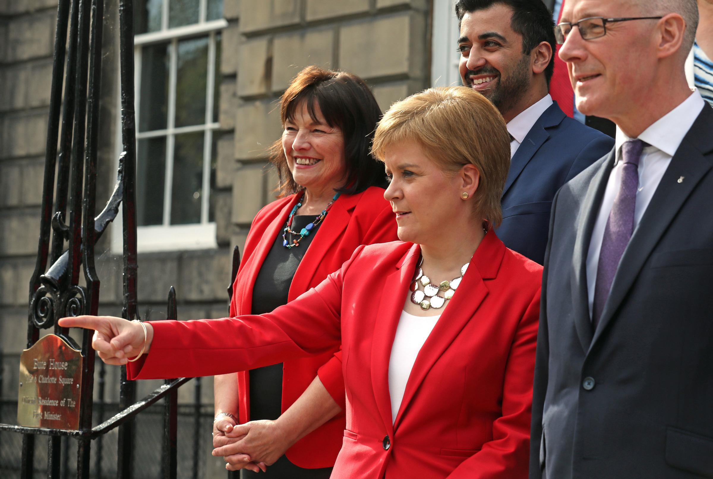 First Minister Nicola Sturgeon and Deputy First Minister John Swinney (right) with Jeane Freeman and Humza Yousaf at Bute House after the Cabinet reshuffle. Picture: Andrew Milligan/PA Wire.