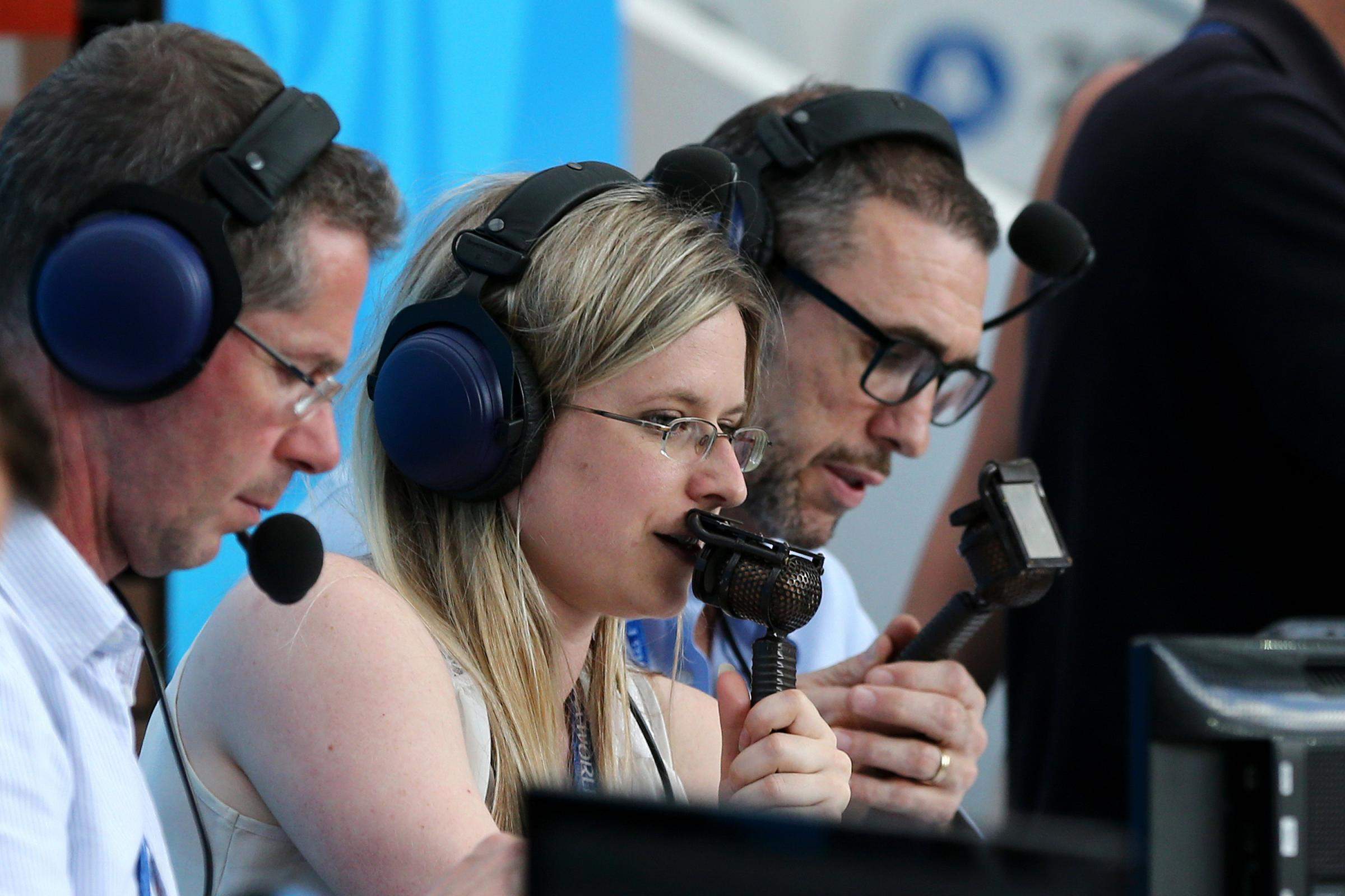 Vicki Sparks commentates for BBC during the World Cup