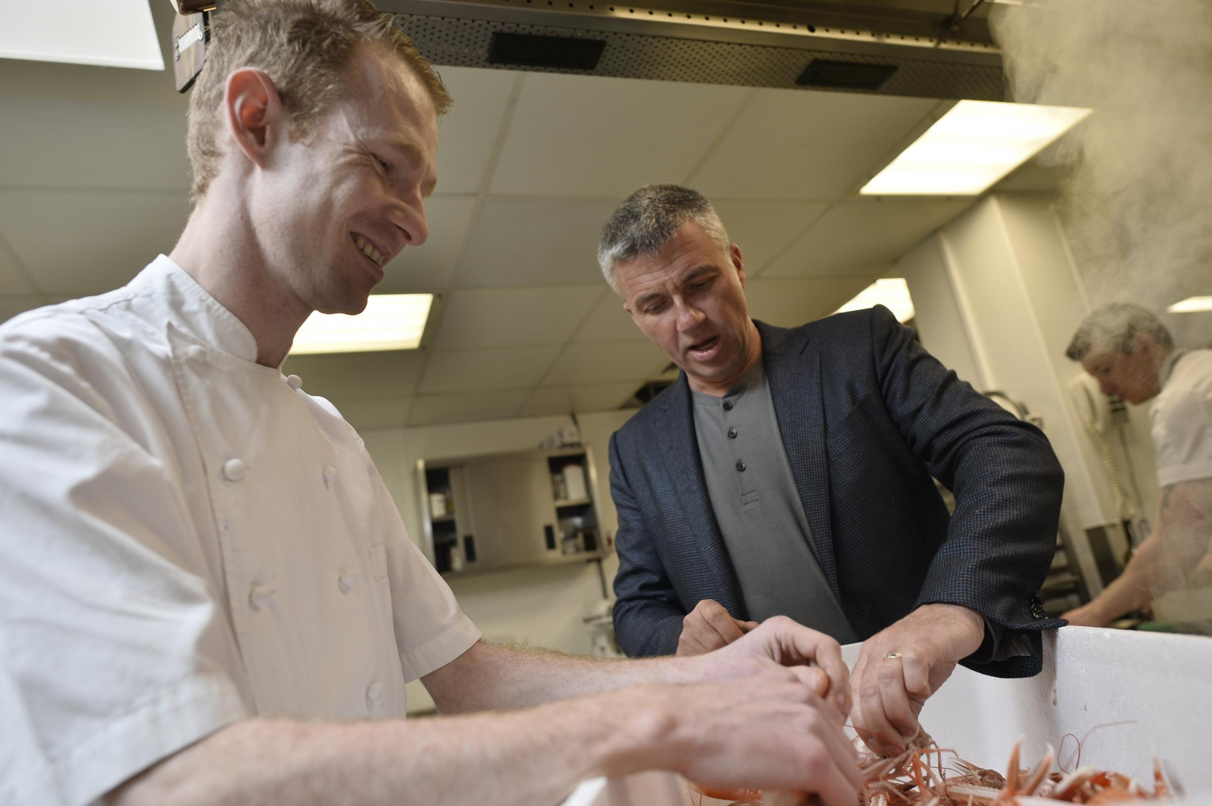 Graeme Cheevers and Martin Wishart in the Cameron House kitchen. Photo by Jamie Simpson/Herald & Times