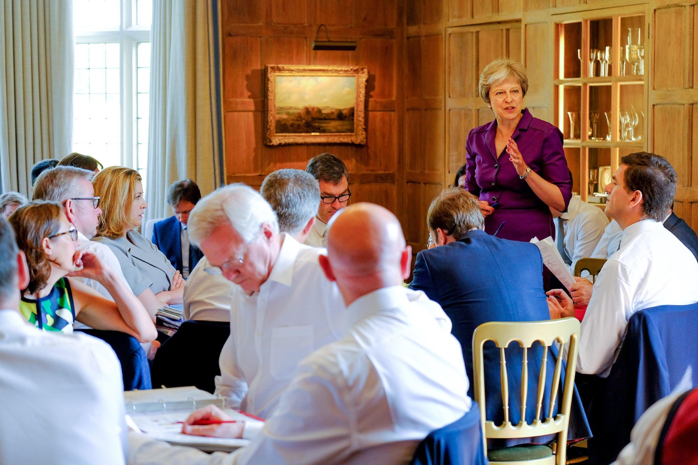 Prime Minister Theresa May speaks during a cabinet meeting at Chequers, the Prime Minister's official country residence near Ellesborough in Buckinghamshire.