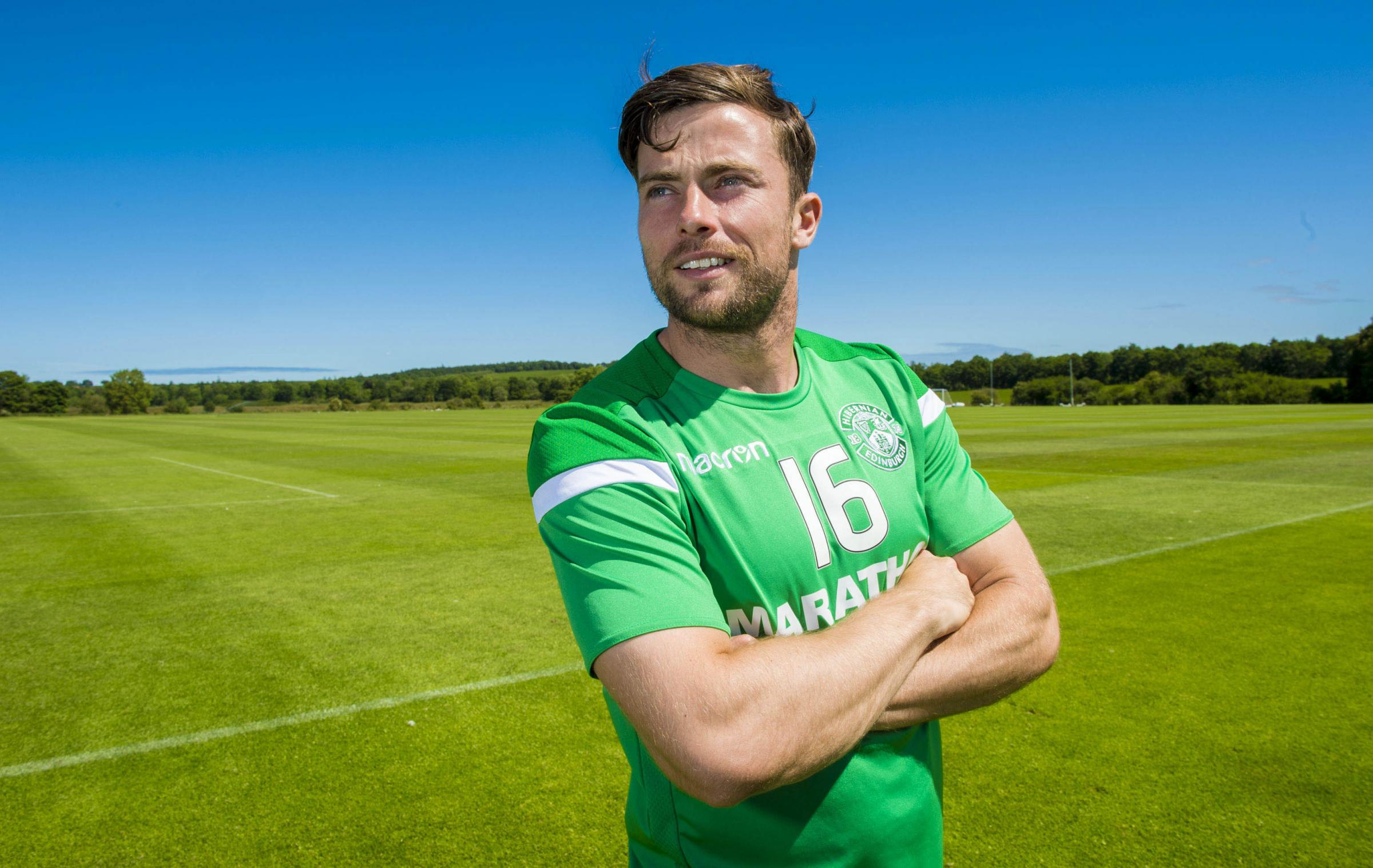 03/07/18. HIBERNIAN TRAINING CENTRE - TRANENT. Hibernian's Lewis Stevenson speaks to the press..