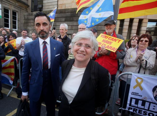 Clara Ponsati and lawyer Aamer Anwar leave Edinburgh Sheriff Court tuesday after trial hearing..Pic Gordon Terris