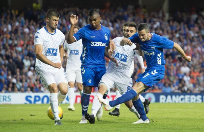 12/07/18 UEFA EUROPA LEAGUE FIRST QUALIFYING ROUND 1st LEG RANGERS v FK SHKUPI  IBROX - GLASGOW Rangers' Jamie Murphy scores the opening goal to make it 1-0.