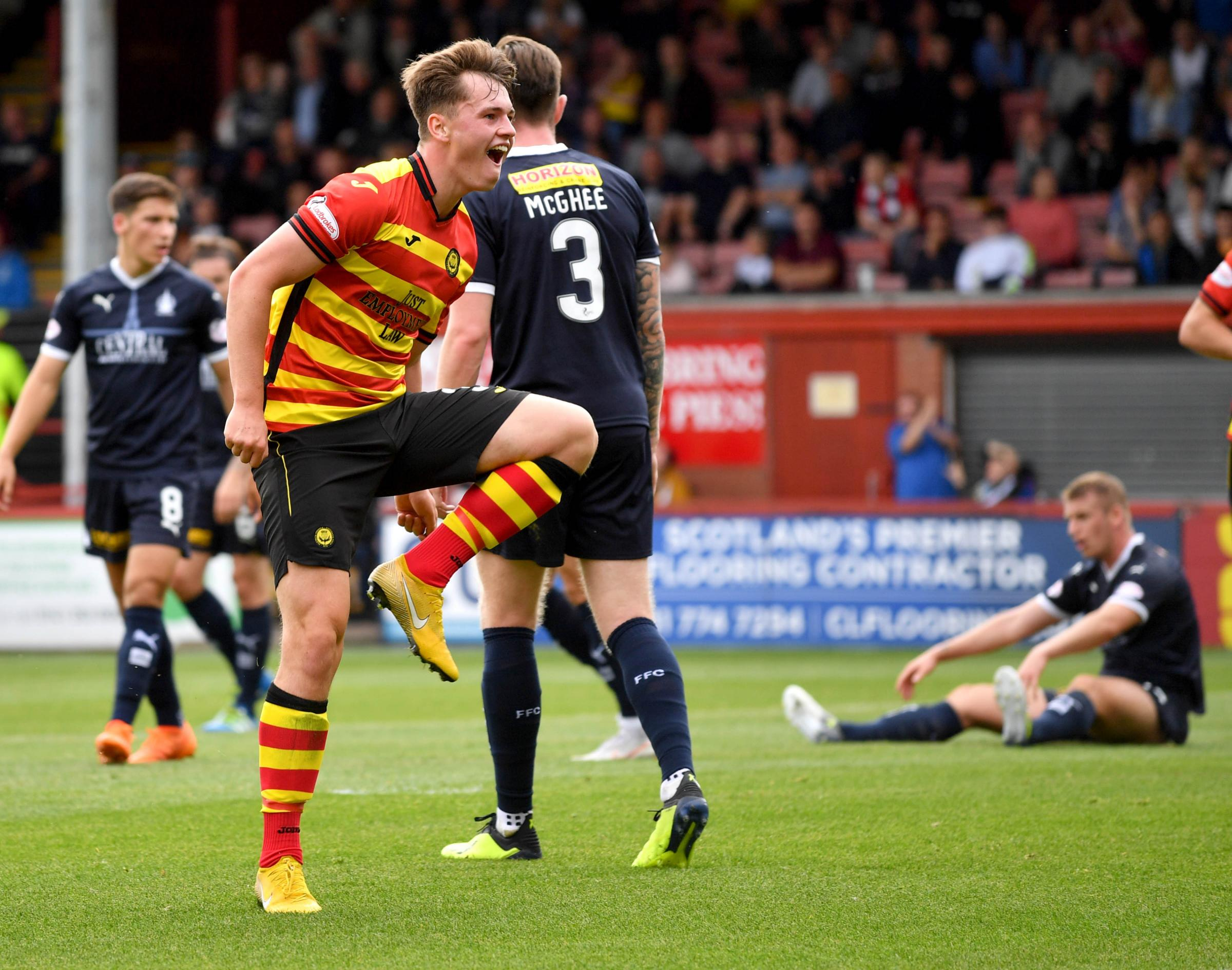 11/08/18 - LADBROKES CHAMPIONSHIP. PARTICK THISTLE V FALKIRK. THE ENERGY CHECK STADIUM AT FIRHILL - GLASGOW. Partick Thistles James Penrice celebrates scoring his sides first goal making it 1-0.