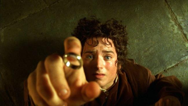 Frodo, with the ring of power.