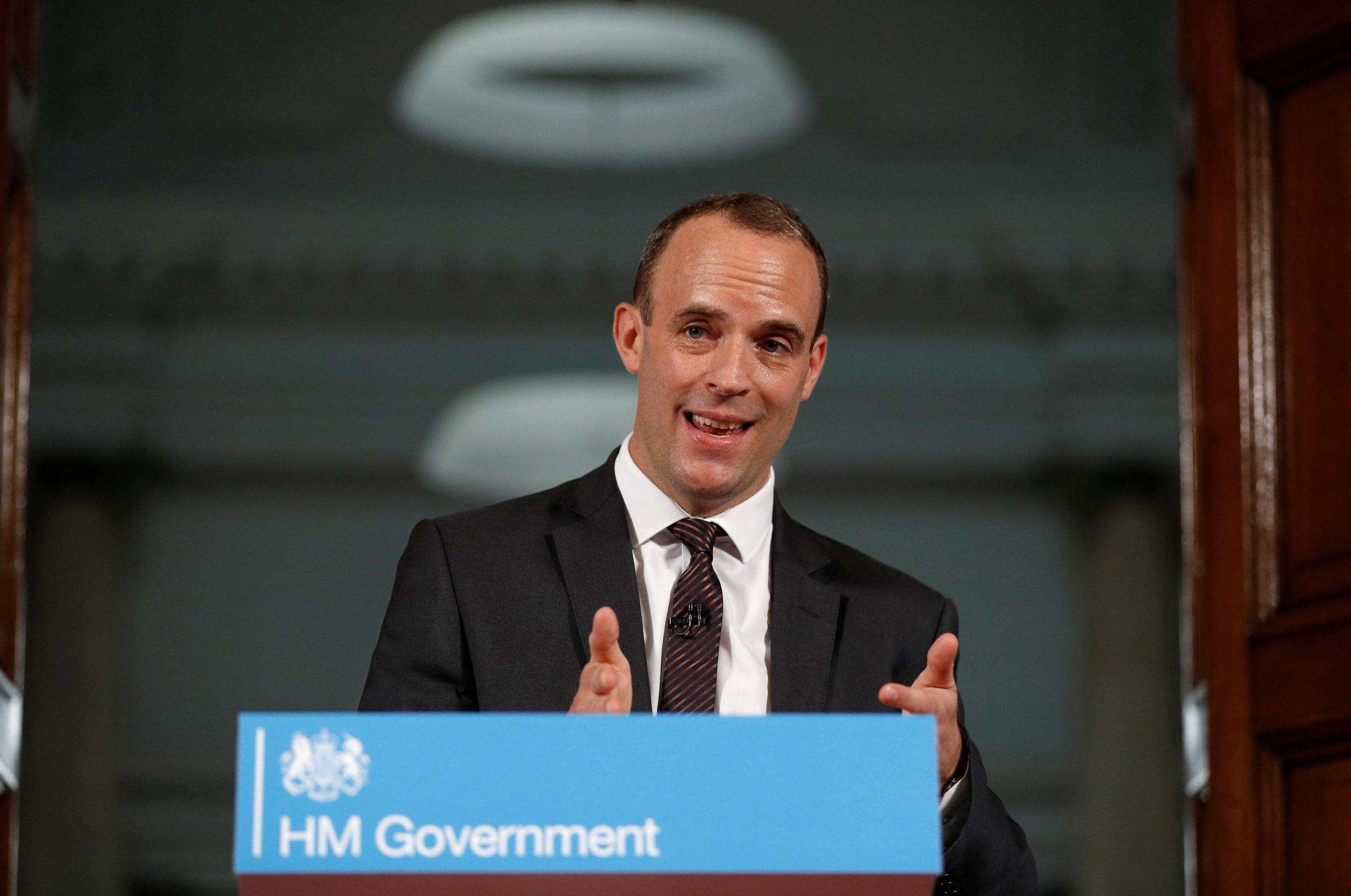 Brexit Secretary Dominic Raab delivers a speech in central London, on preparations for a no deal Brexit which coincides with the publication of the first of the Government's technical notes on the no deal preparations. PRESS ASSOCIATION Photo. Picture