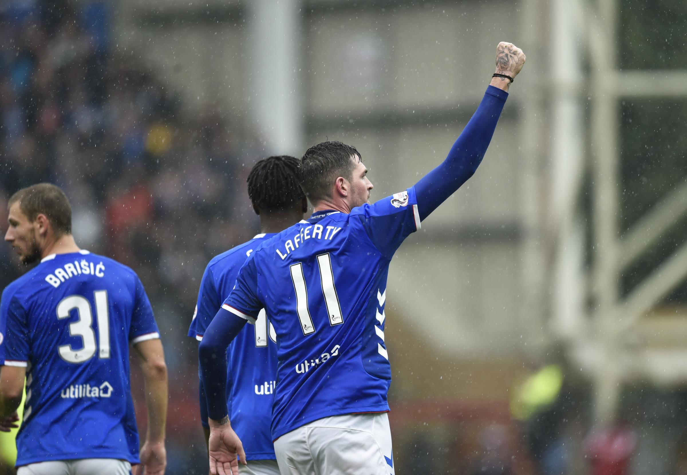 Kyle Lafferty celebrates his second goal against Motherwell