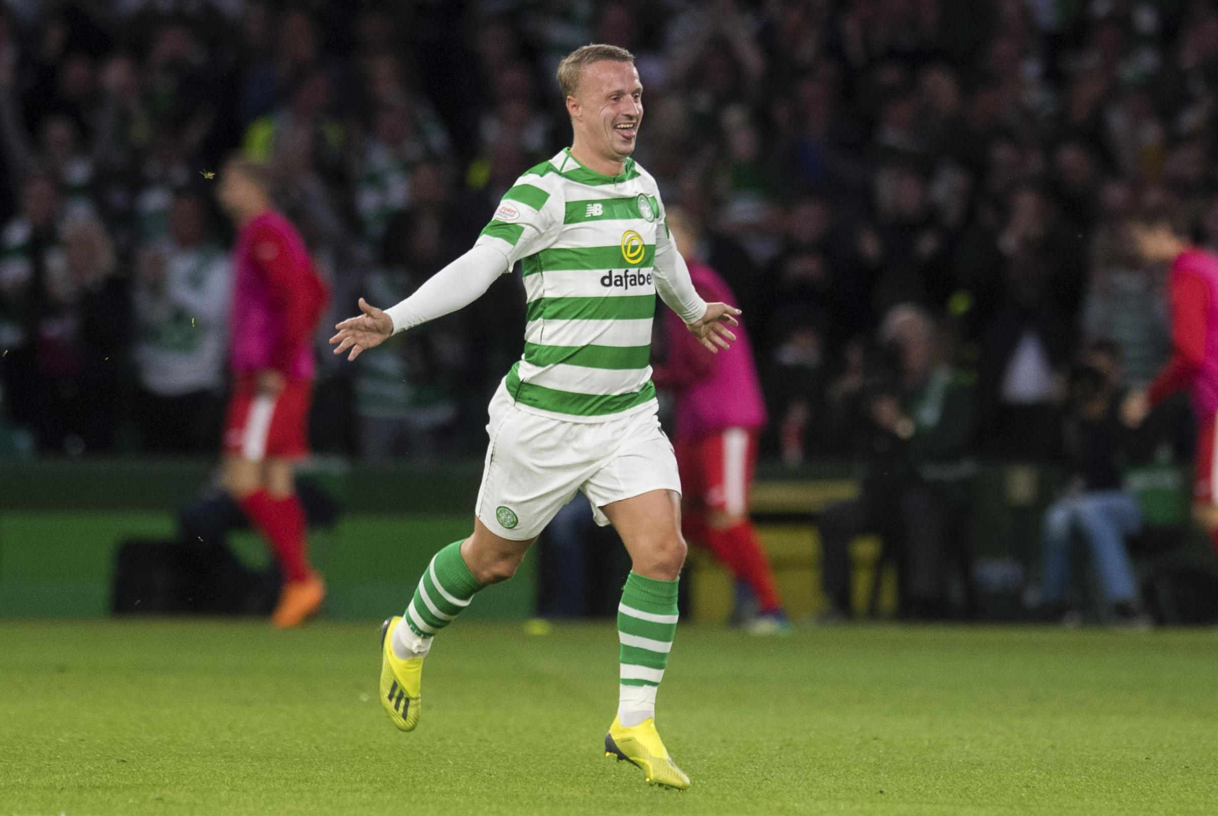 Leigh Griffiths celebrates his goal against Suduva to make it 100 for Celtic