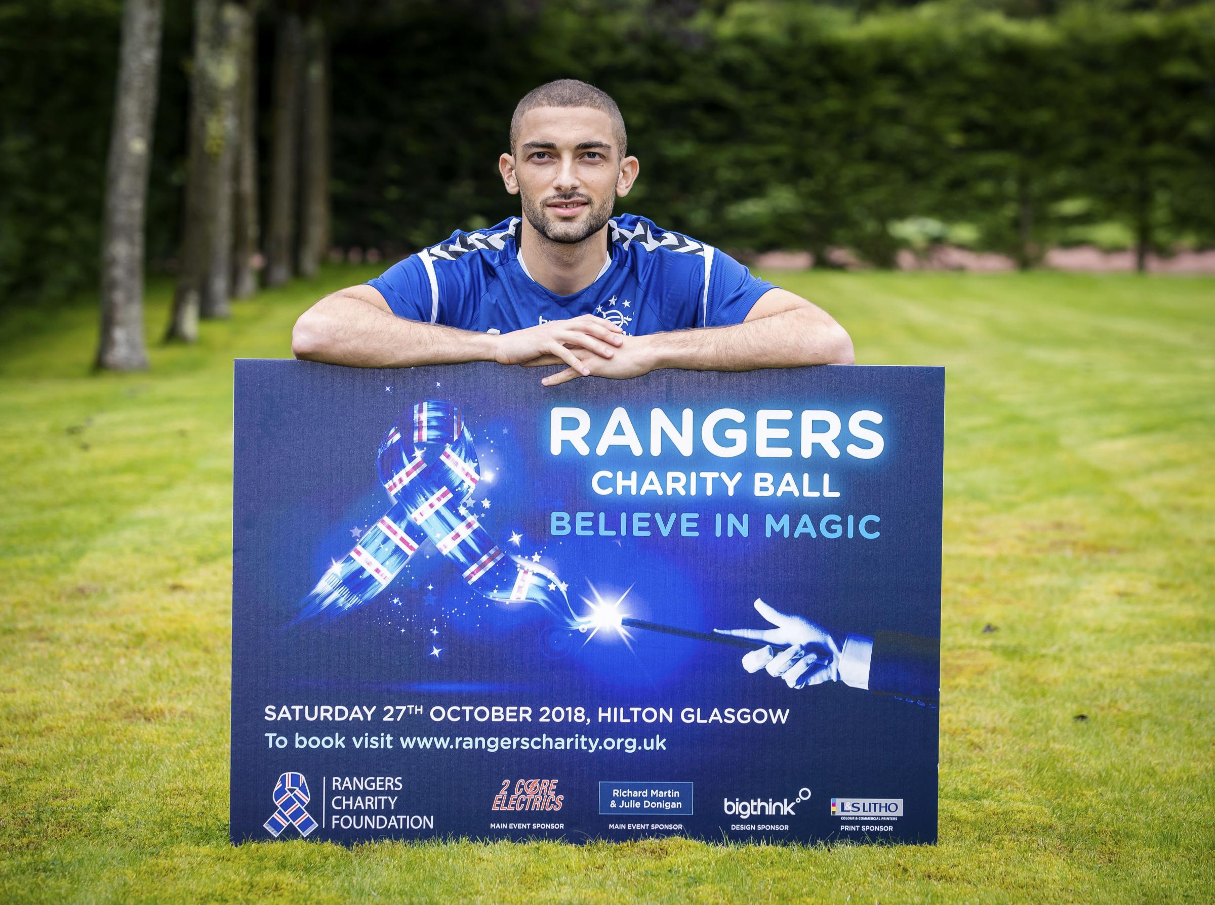 14/09/18 . HUMMEL TRAINING CENTRE - MILNGAVIE . Rangers' Eros Grezda promotes the Rangers Charity Foundation 'Believe in Magic' Charity Ball.