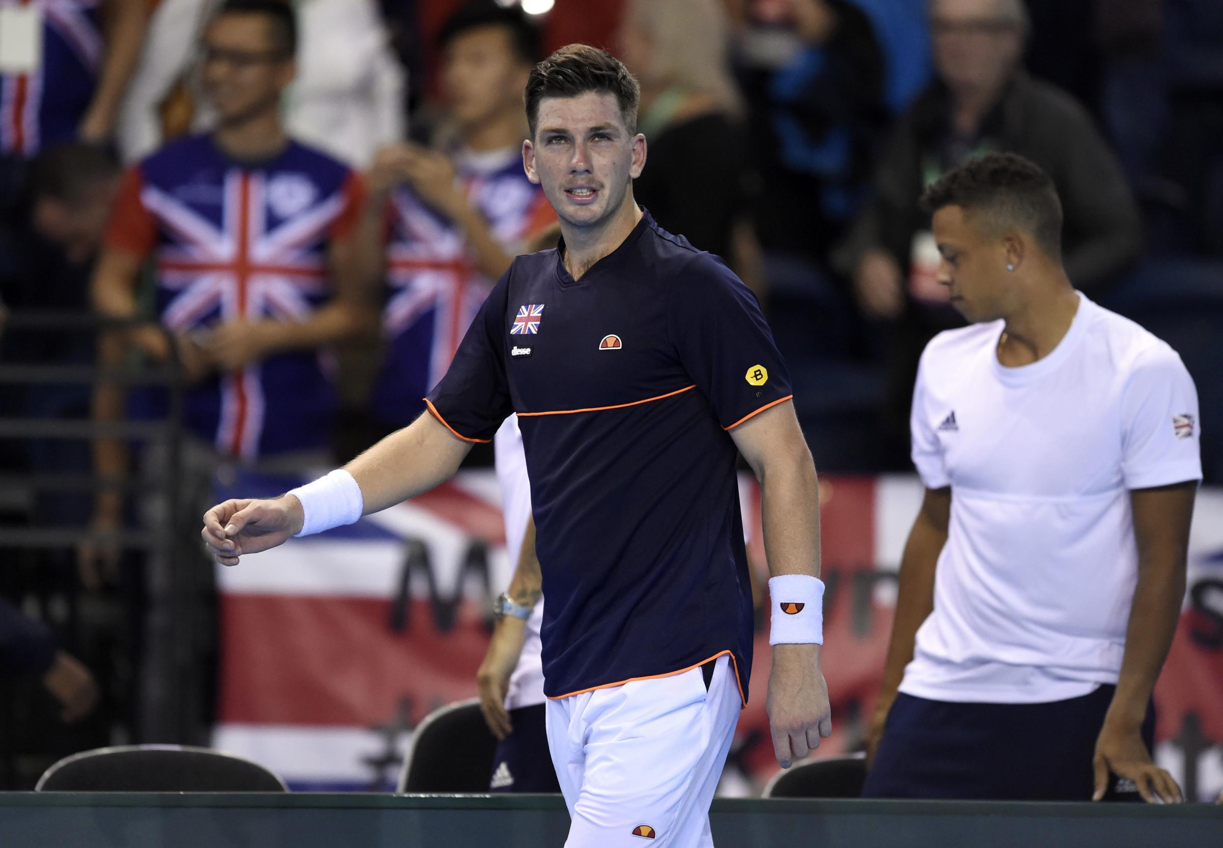Great Britain's Cameron Norrie reacts after losing to Uzbekistan's Jurabek Karimov during the Davis Cup match at Emirates Arena, Glasgow. PRESS ASSOCIATION Photo. Picture date: Friday September 14, 2018. See PA story TENNIS Davis Cup. Photo credit