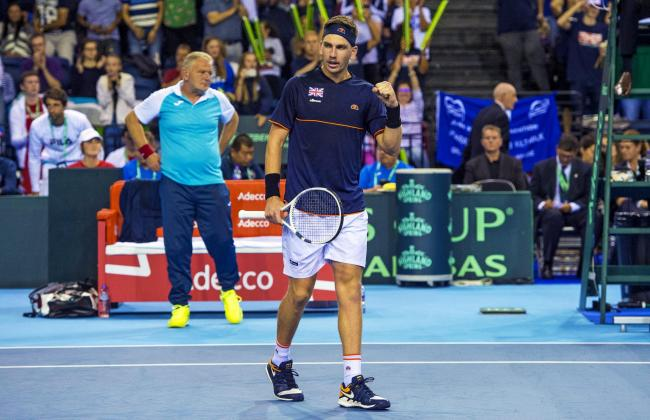 16/09/18 DAVIS CUP. CAMERON NORRIE (GB) v SANJAR FAYZIEV (UZ).  EMIRATES ARENA - GLASGOW . Great Britain's Cameron Norrie celebrates after winning the match 3-0..