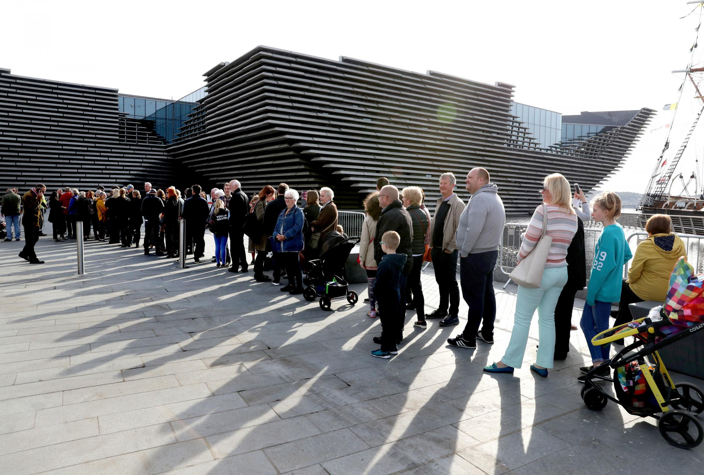 People queueing outside the new V&A Dundee, the £80.1 million new museum