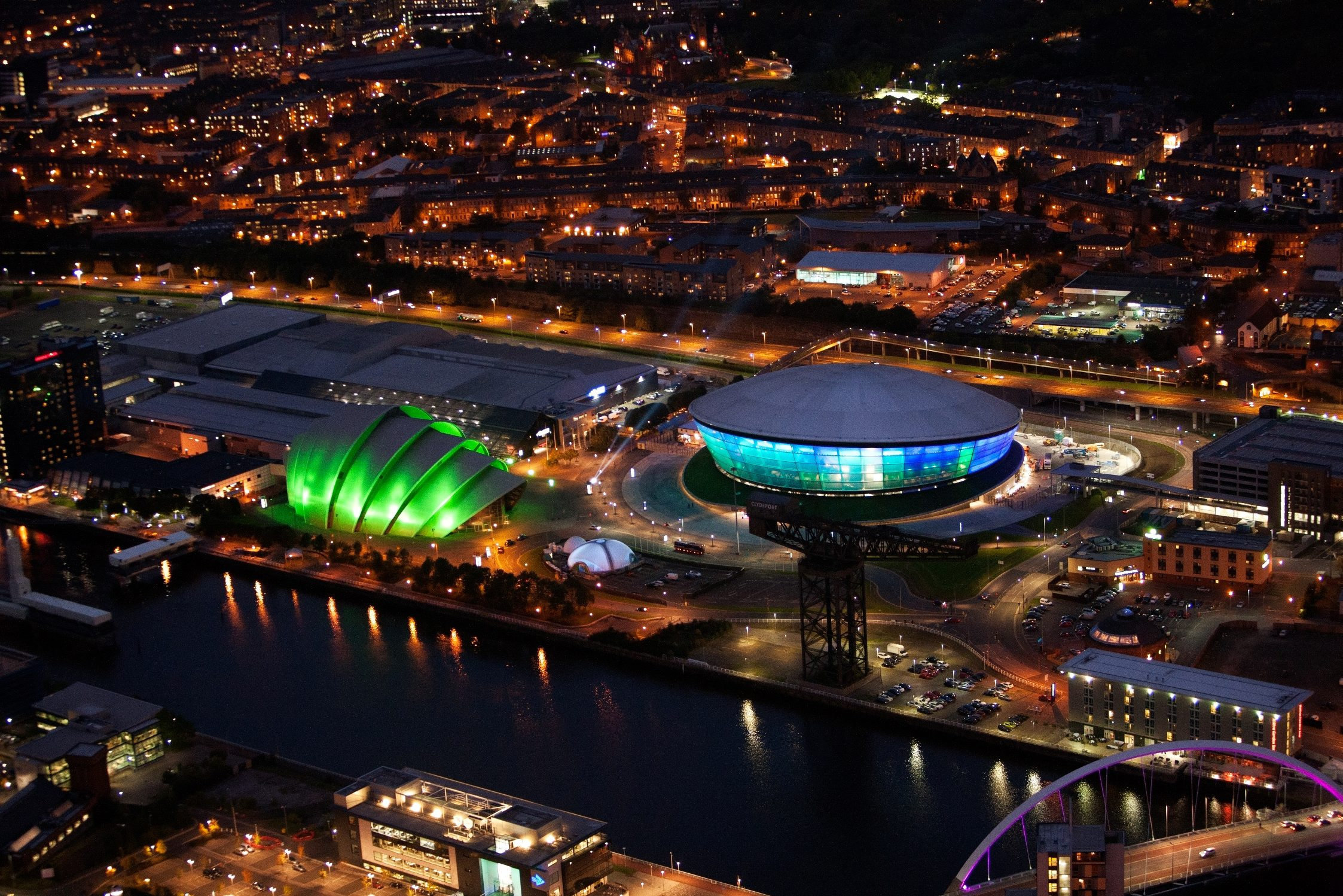 The SECC and Hydro at night