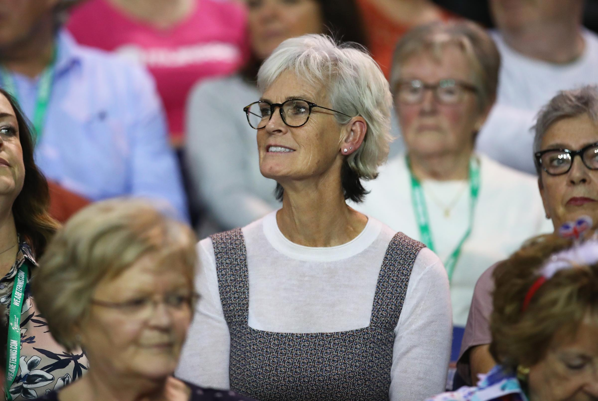 Judy Murray shows her emotions after watching her son Jamie Murray and his doubles partner Dominic Inglot of Great Britain just after they had celebrated match point against Denis Istomin and Sanjar Fayziev of Uzbekistan. Picture: Getty
