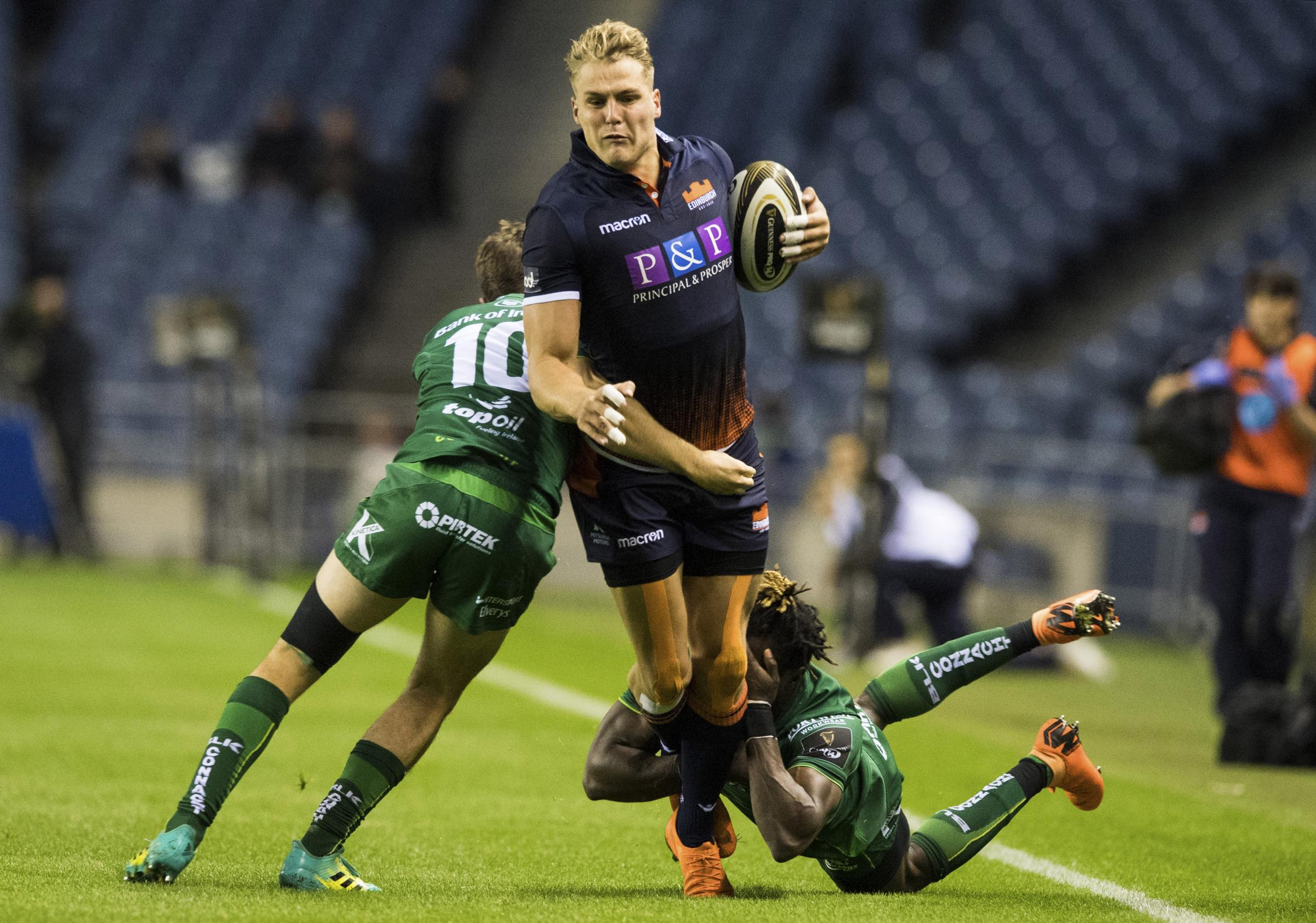 14/09/18 GUINNESS PRO14 . EDINBURGH RUGBY V CONNACHT (17-10). BT MURRAYFIELD - EDINBURGH. Edinburgh's Duhan Van Der Merwe.