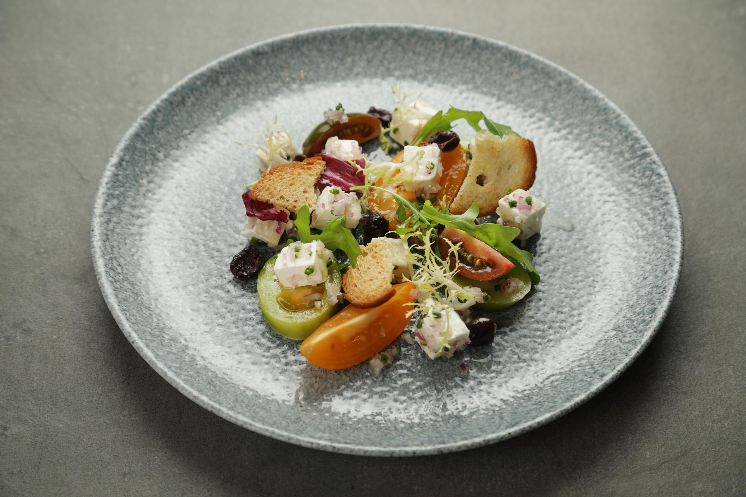 Brian Maule: Feta cheese with red onion and olives, heritage tomato salad