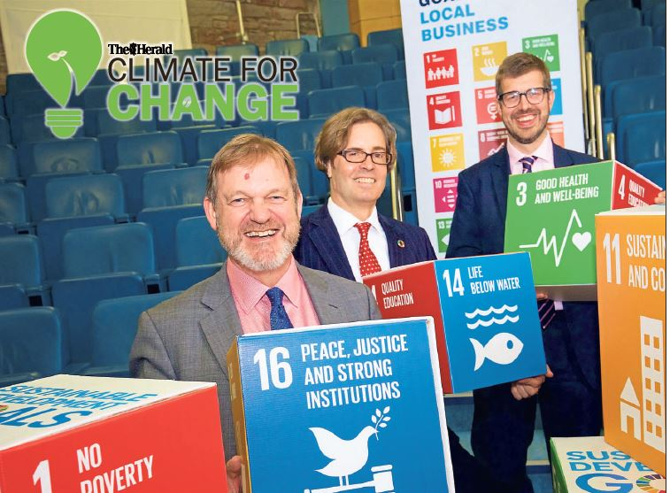 Terry A'Hearn, SEPA Chief Executive; Steven Kenzie, Executive Director, UN Global Compact Network UK and Sandy MacDonald, Head of Corporate Sustainability at Standard Life Aberdeen, at the launch of the Scottish Sustainable Development Goals Group