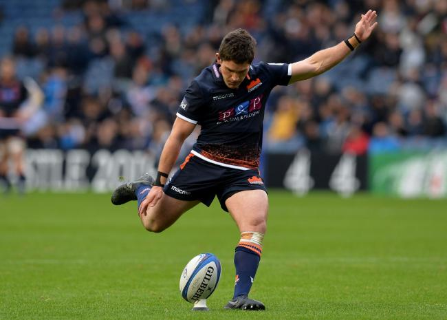 EDINBURGH, SCOTLAND - OCTOBER 20: Simon Hickey of Edinburgh Rugby kick a conversion after Chris Dean of Edinburgh Rugby scored a try late in the second half during the Champions Cup match between Edinburgh Rugby and Toulon at Murrayfield Stadium on Octobe