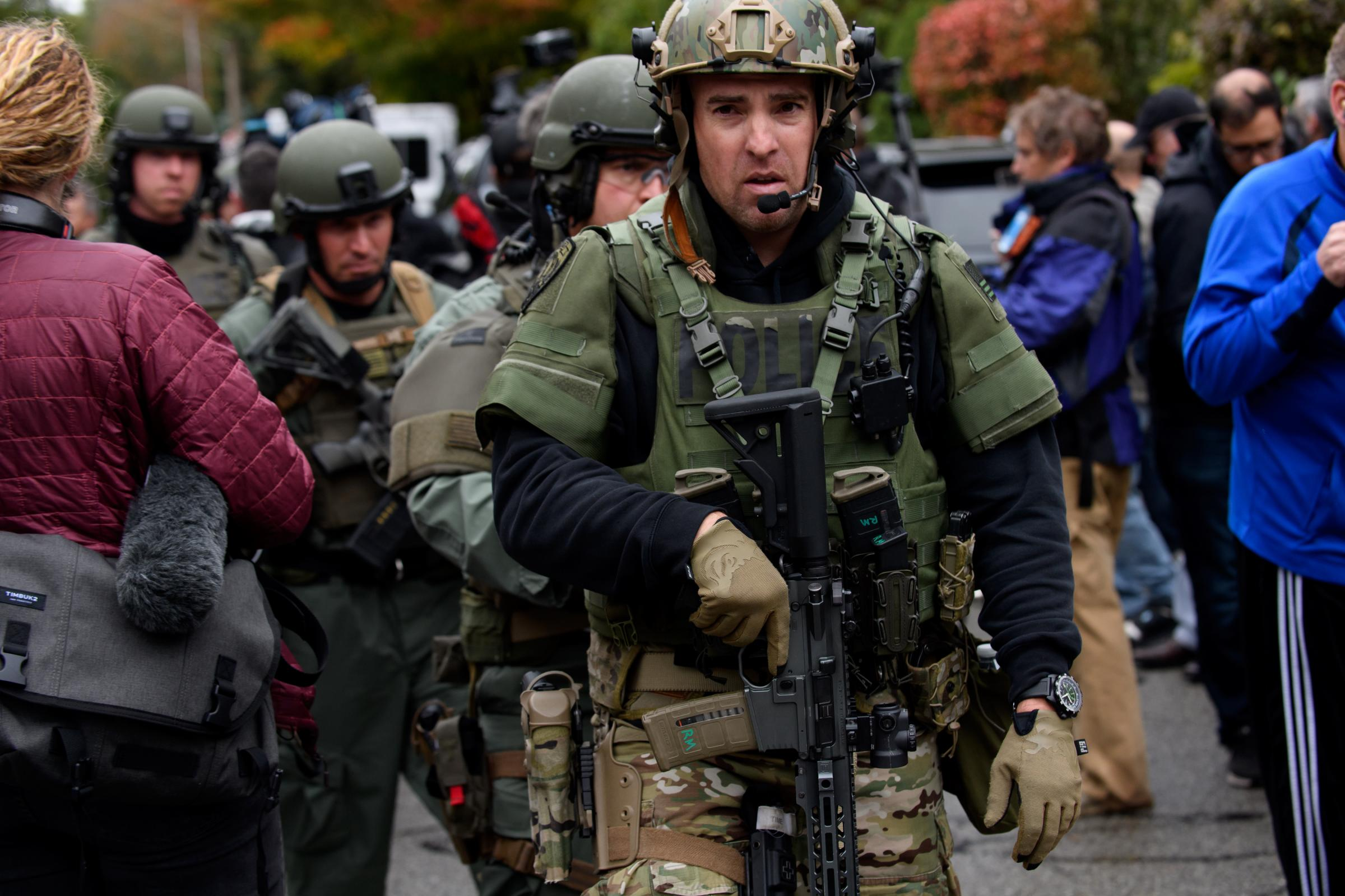 Rapid reaction SWAT members at the scene of a mass shooting at the Tree of Life Synagogue in Pittsburgh, Pennsylvania last Saturday. (Photo by Jeff Swensen/Getty Images)