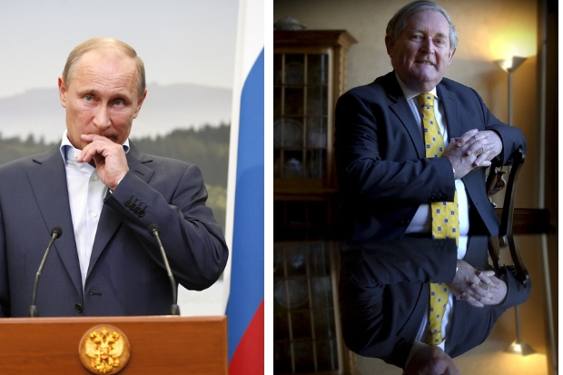 Vladimir Putin, left, said Sir Angus Grossart would be awarded the Pushkin medal.