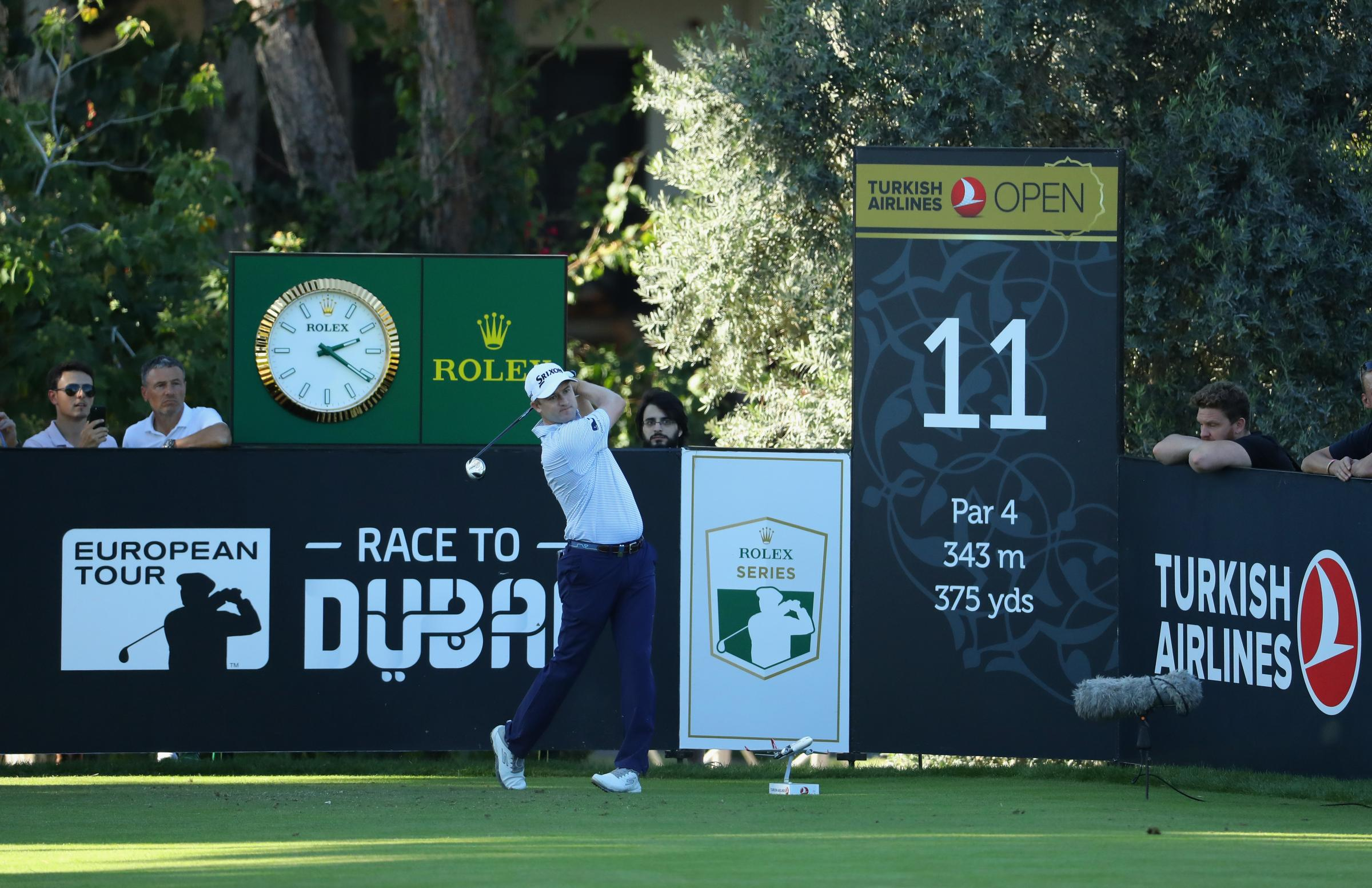 ANTALYA, TURKEY - NOVEMBER 01: Russell Knox of Scotland tees off from the 11th during Day One of the Turkish Airlines Open at the Regnum Carya Golf & Spa Resort on November 1, 2018 in Antalya, Turkey. (Photo by Warren Little/Getty Images).