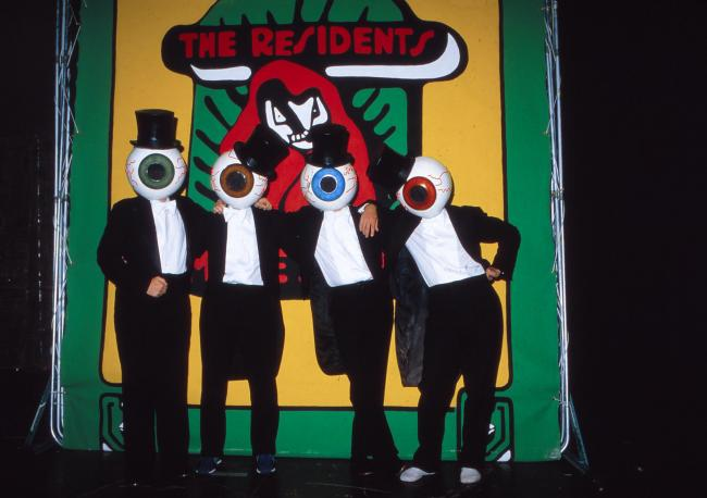 SAN FRANCISCO - October 1980: The Residents, eccentric San Francisco-based recording artists, pose in their trademark eyeball costumes in the bandâ��à 	�à 	´s San Francisco studio in October 1980, just prior to the release of the