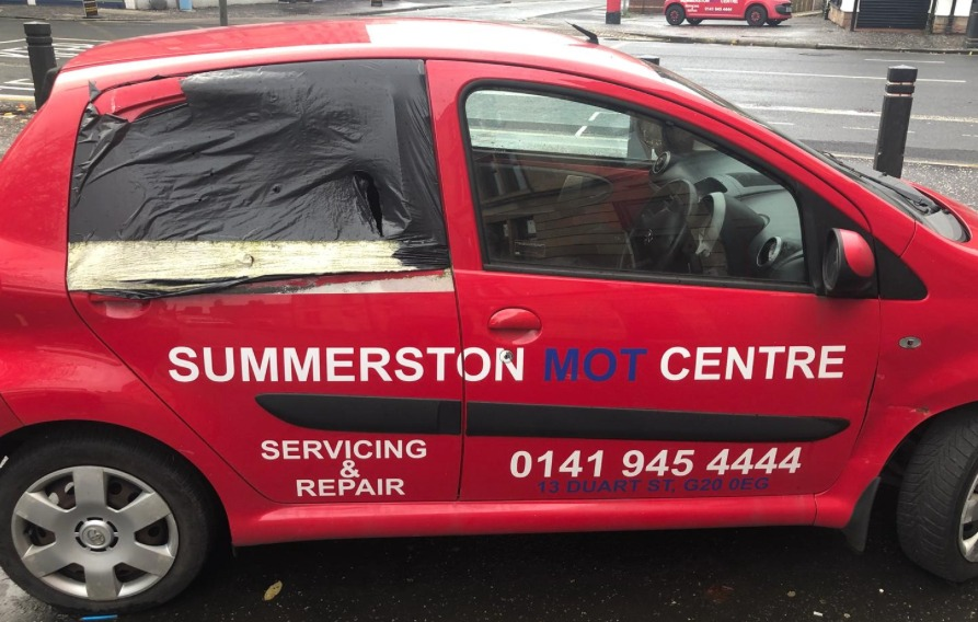 Gordon Matheson spots this car in Maryhill and thinks it's maybe not the best advertisement for a repair centre.