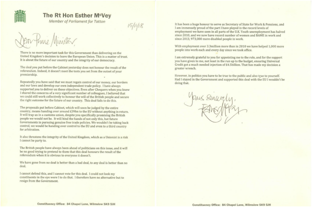 Work and pensions secretary Esther McVey\'s resignation ...