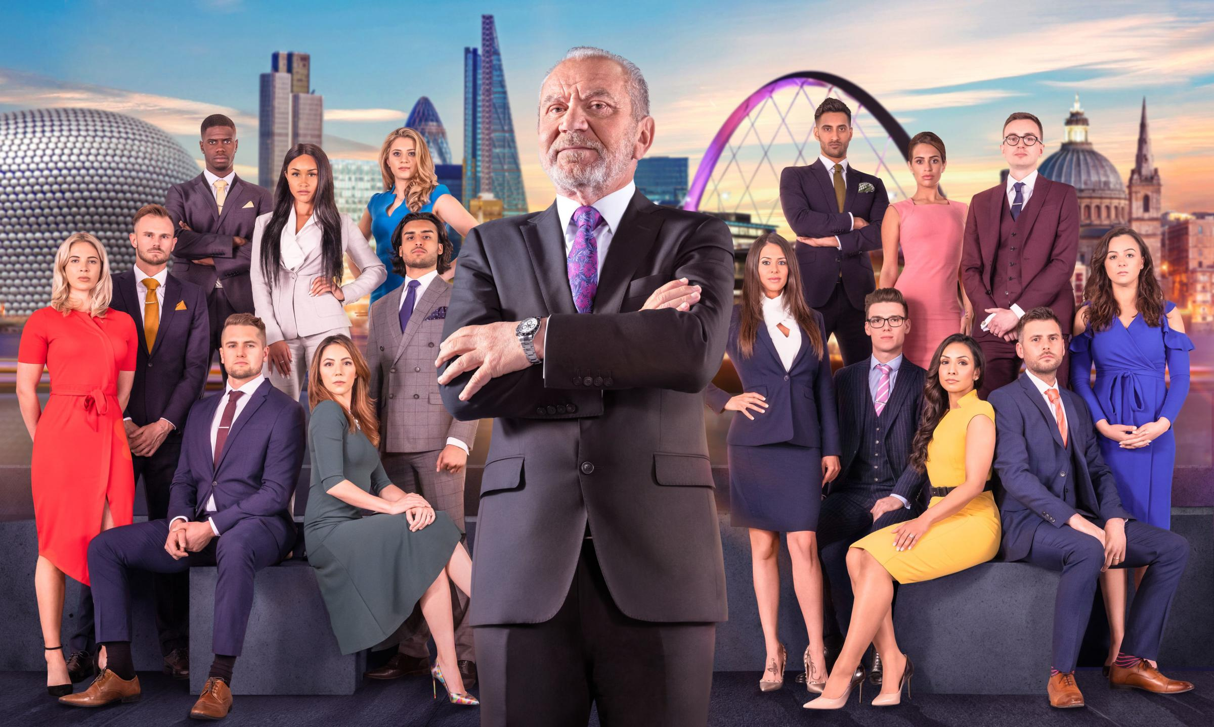 Lord Sugar with The Apprentice candidates.