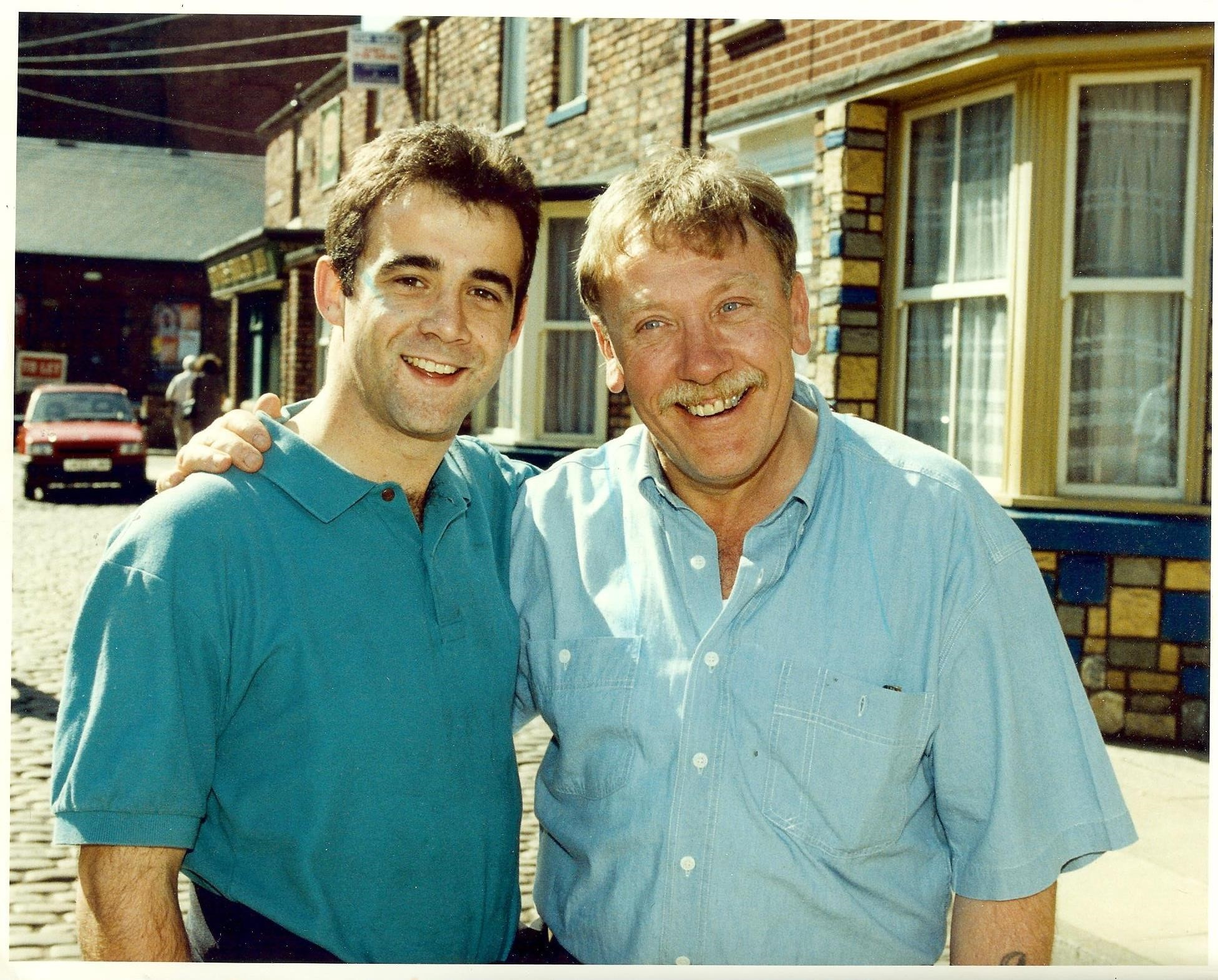 Peter Armitage, right, with his on-screen son Michael Le Vell