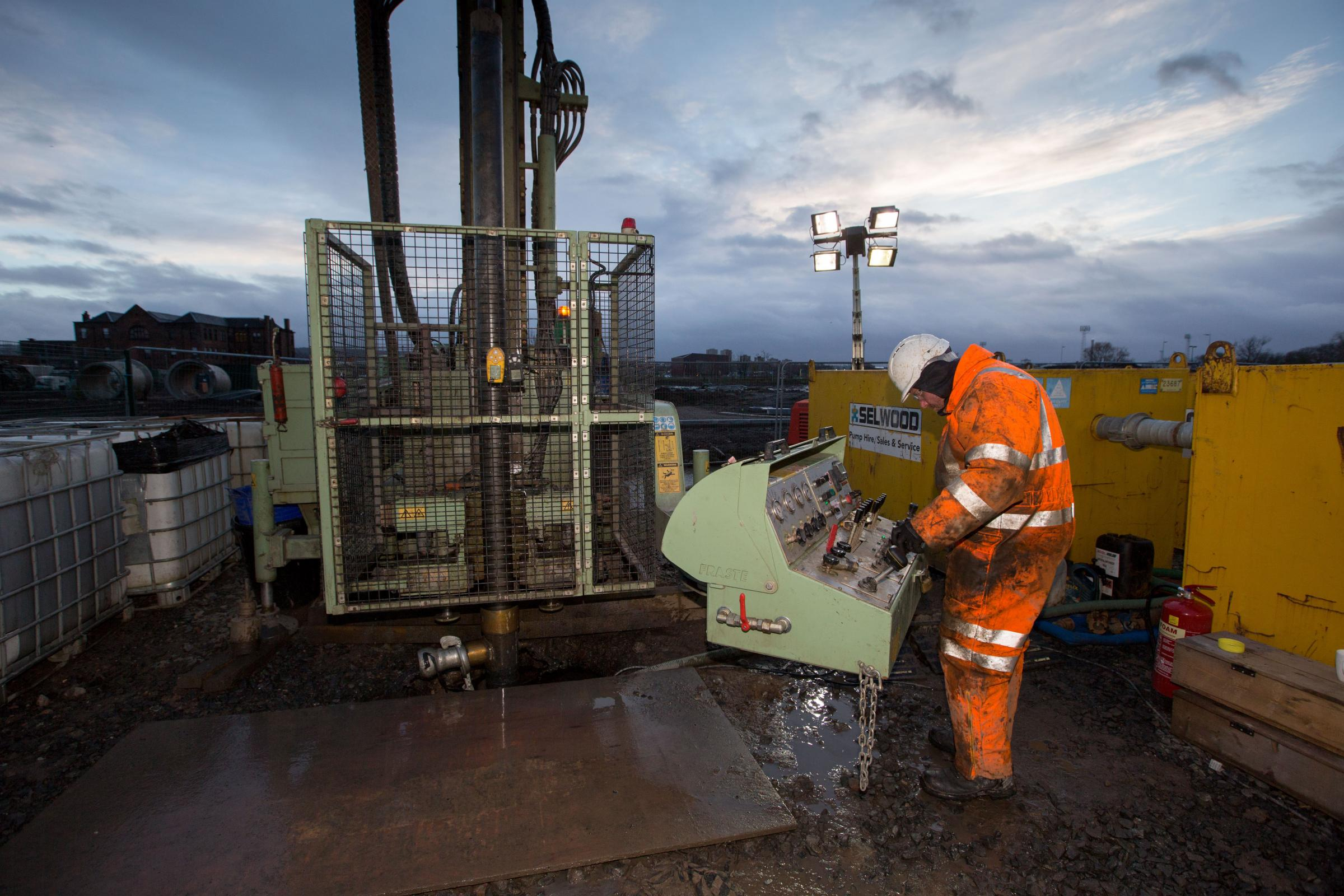 A drilling rig makes a start on the first borehole for the UK Geoenergy Observatories project.