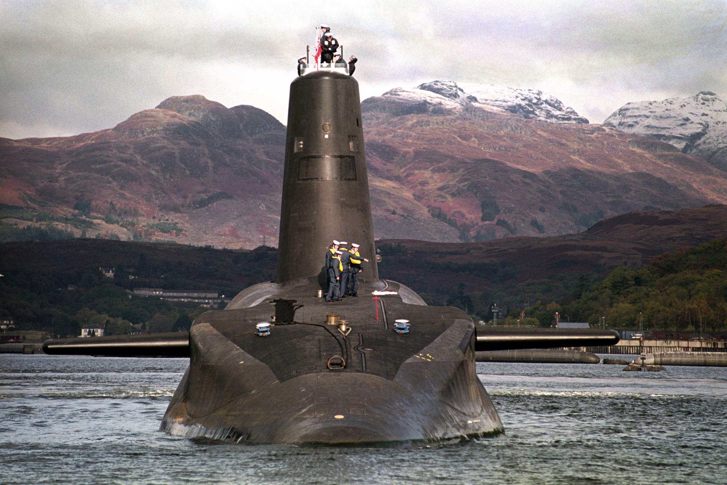 File photo dated 30/01/02 of the Royal Navy's 16,000 ton Trident-class nuclear submarine Vanguard, as Labour's annual conference is set to debate calls for the UK's Trident nuclear weapons system to be scrapped. PRESS ASSOCIATION Photo. Issue