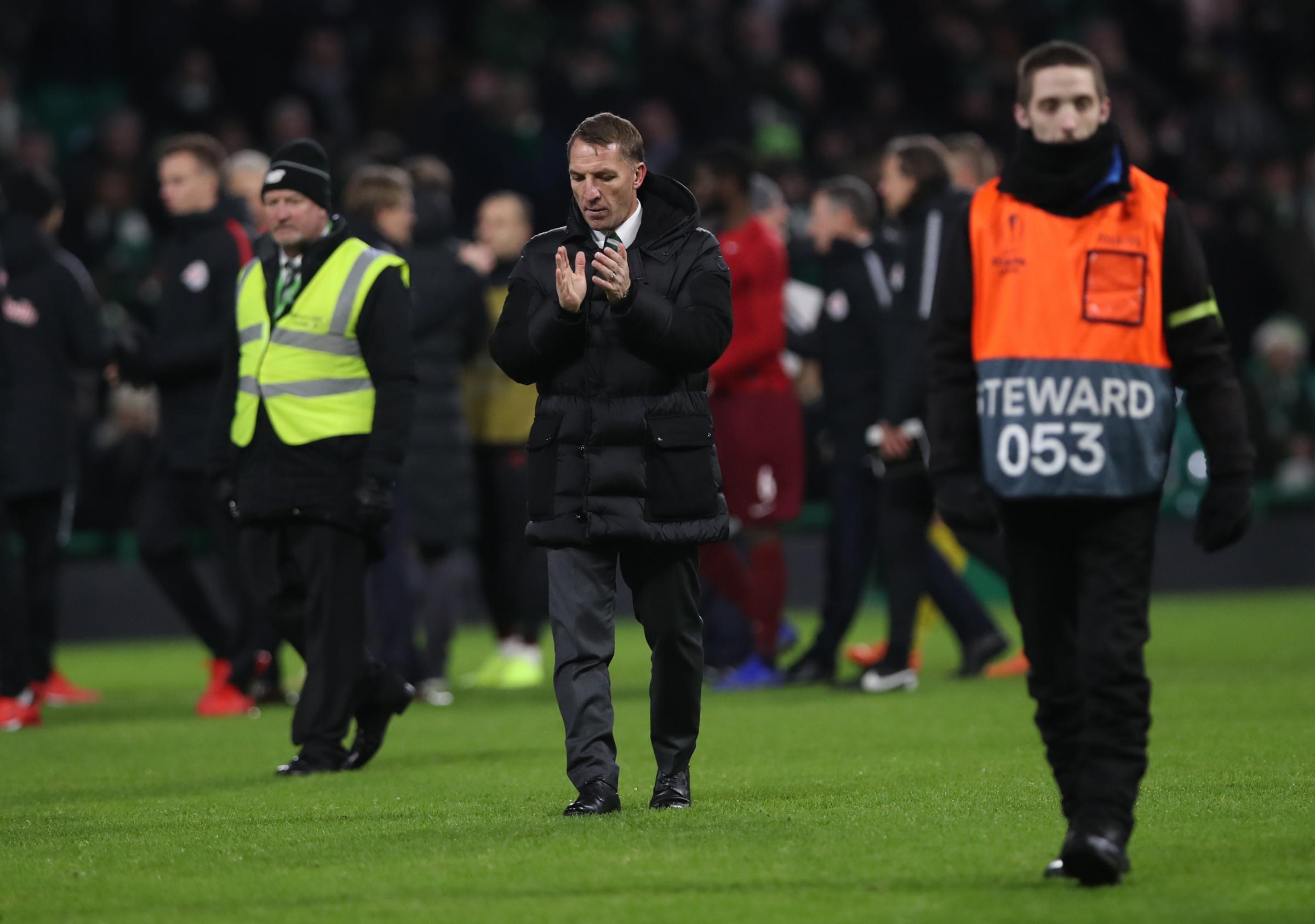 GLASGOW, SCOTLAND - DECEMBER 13: Celtic manager Brendan Rodgers applauds the fans during the UEFA Europa League Group B match between Celtic and RB Salzburg at Celtic Park on December 13, 2018 in Glasgow, United Kingdom. (Photo by Ian MacNicol/Getty Image